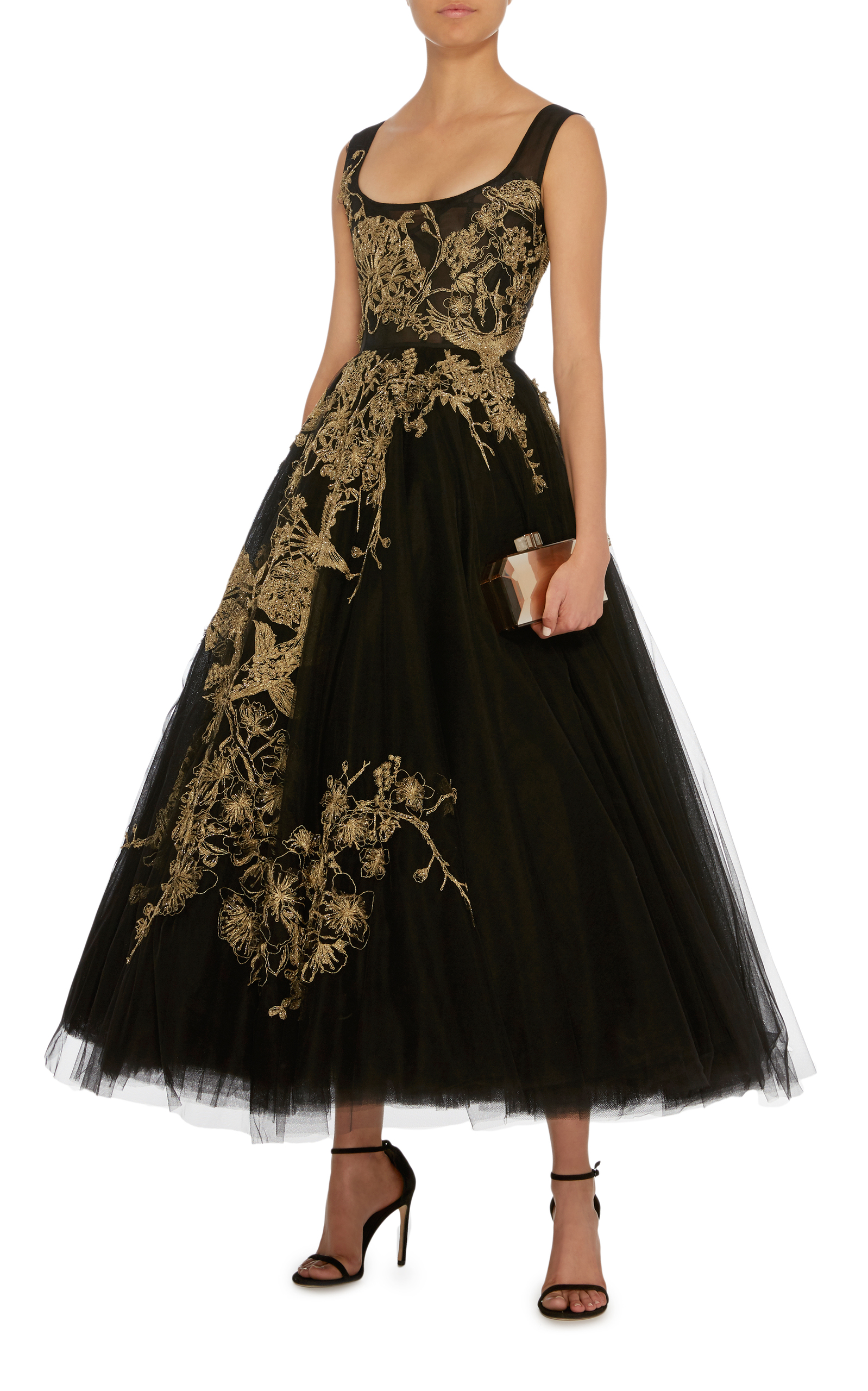 1aaa937881 Gold Embroidered Tulle Gown by Marchesa | Moda Operandi
