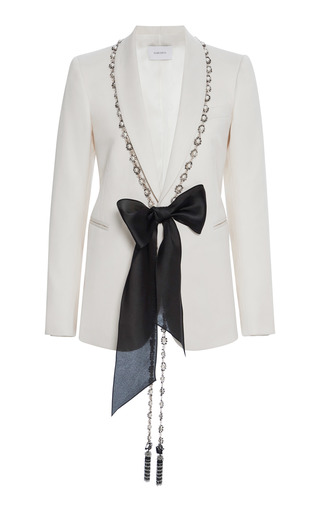 Pearl embroidered suit jacket by marchesa moda operandi