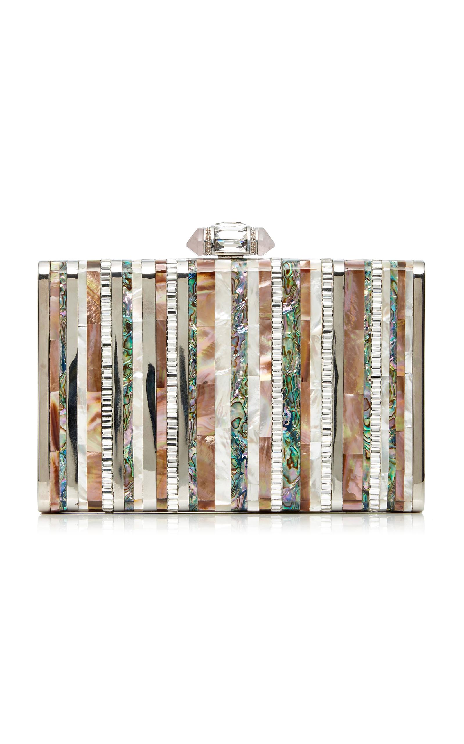 Judith Leiber Tall Slender Shell Stripes Clutch Bag, Silver