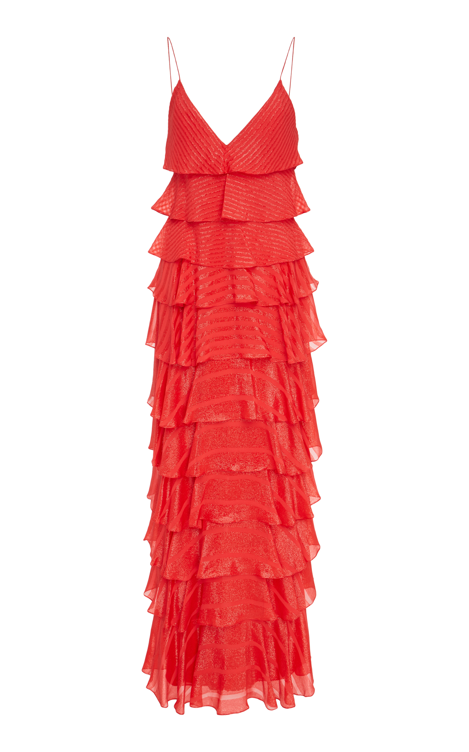 J MENDEL Metallic Striped Silk-Blend Gown - Tangerine Size 4