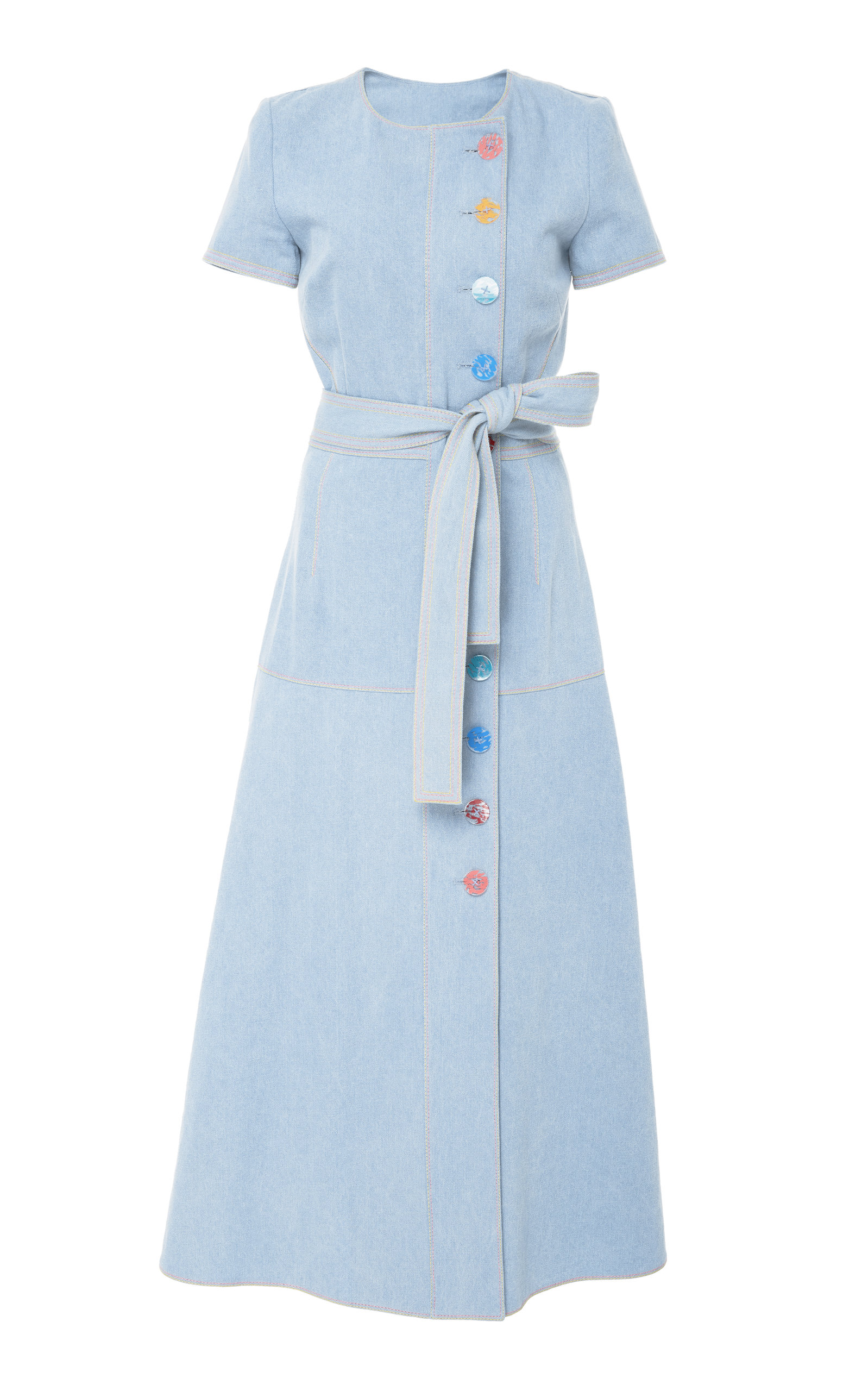 dd5701f2db Short Sleeve Denim Dress by Carolina Herrera | Moda Operandi