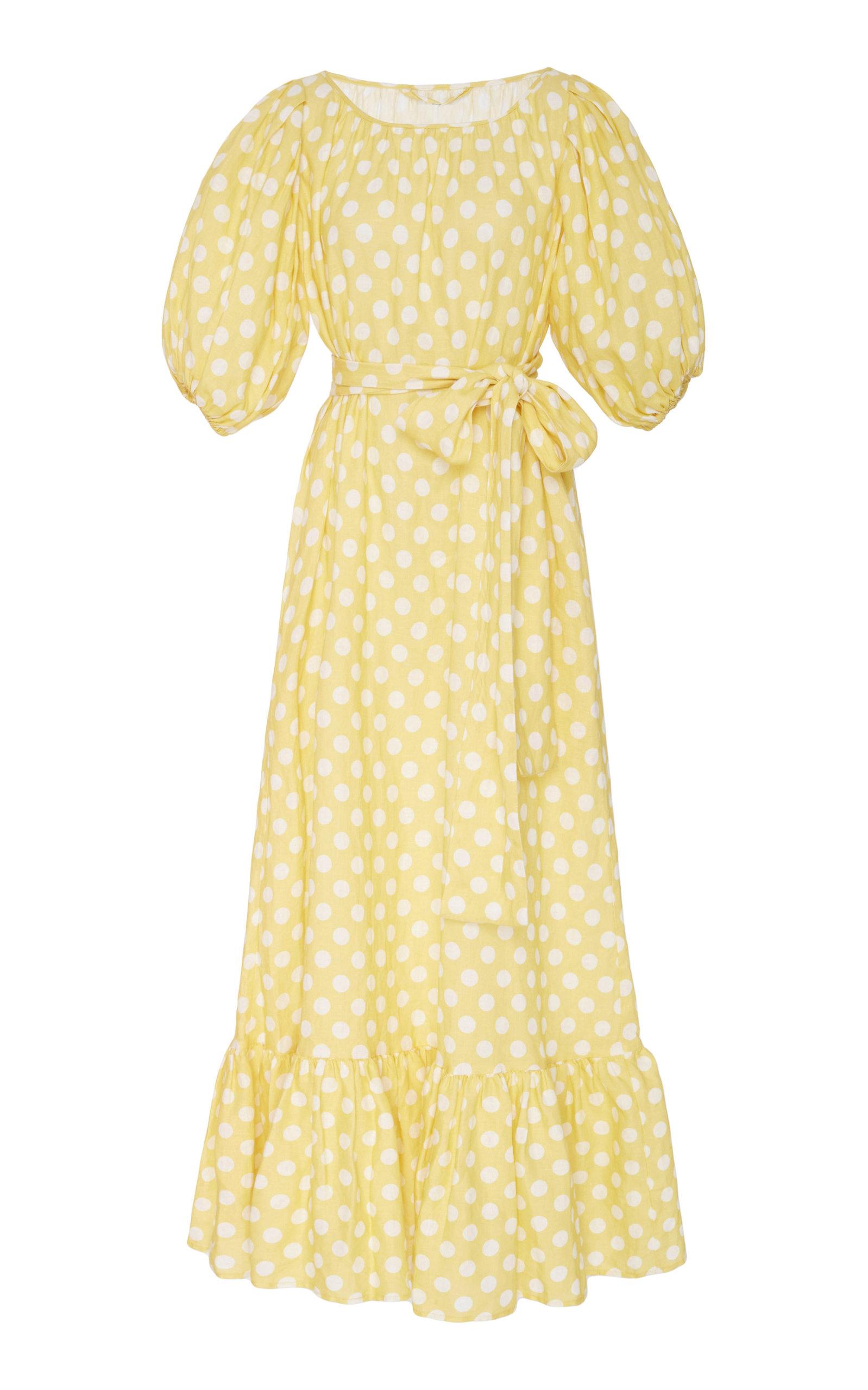 Discount For Sale Collections Polka-dot Linen Midi Dress - White Lisa Marie Fernandez Cheap Low Price n6vC96ZuVU
