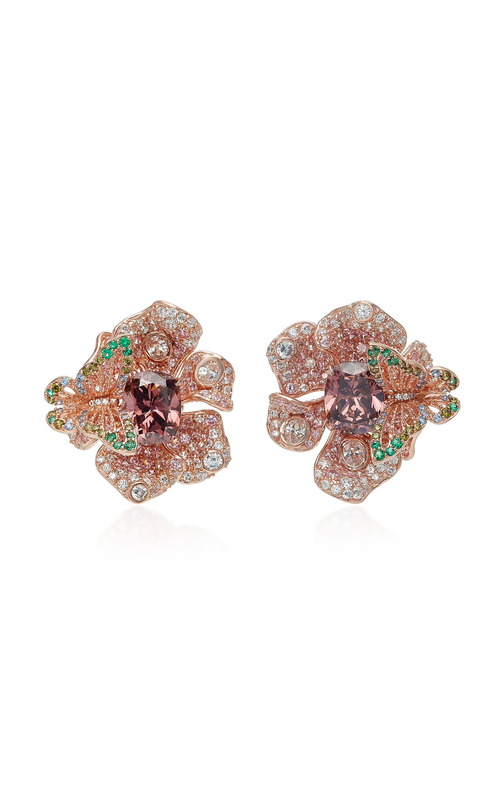 ANABELA CHAN M'O Exclusive Rose Peony Earrings in Brown