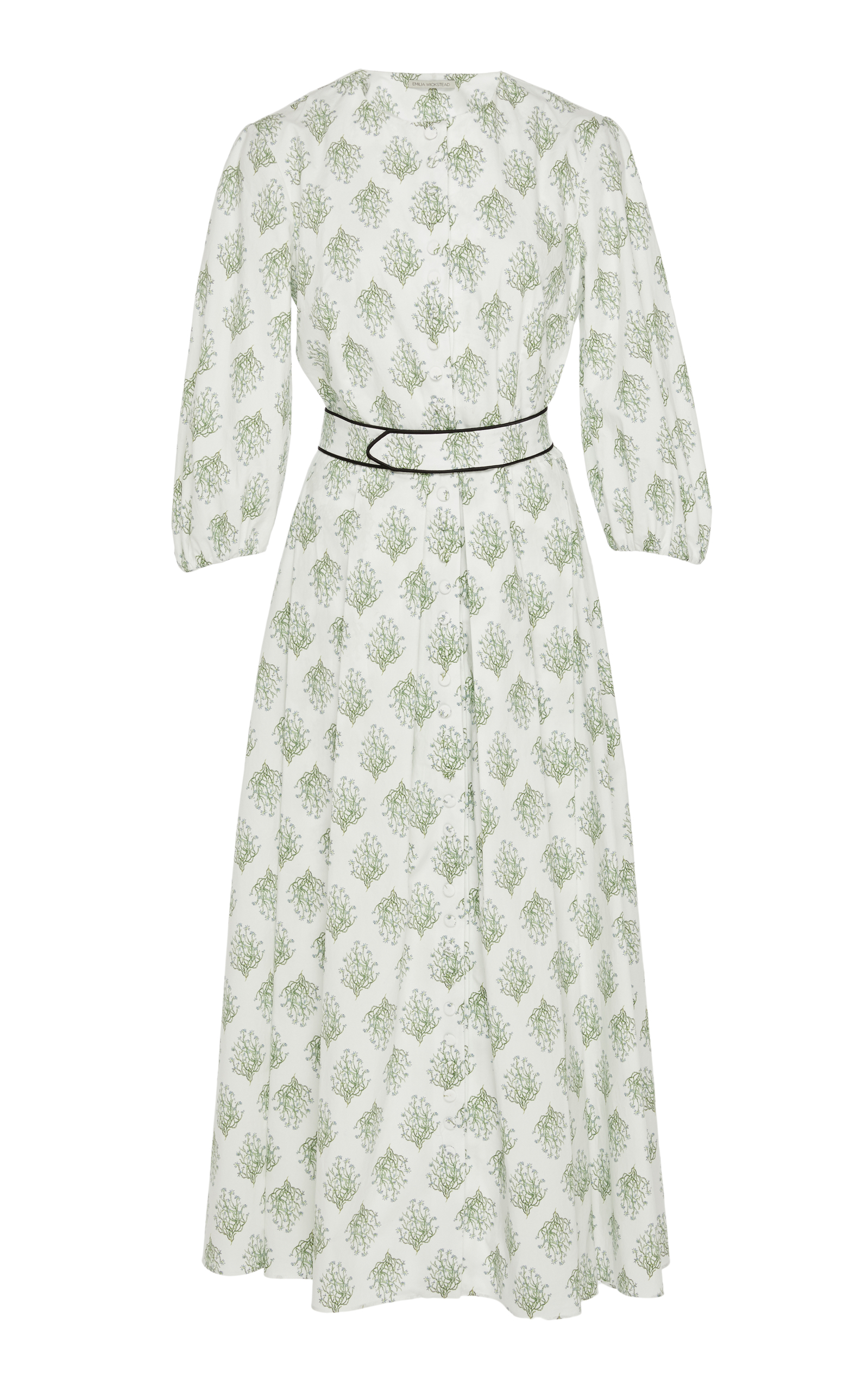 EMILIA WICKSTEAD Hilary Floral-Print Balloon-Sleeved Cotton Dress in White