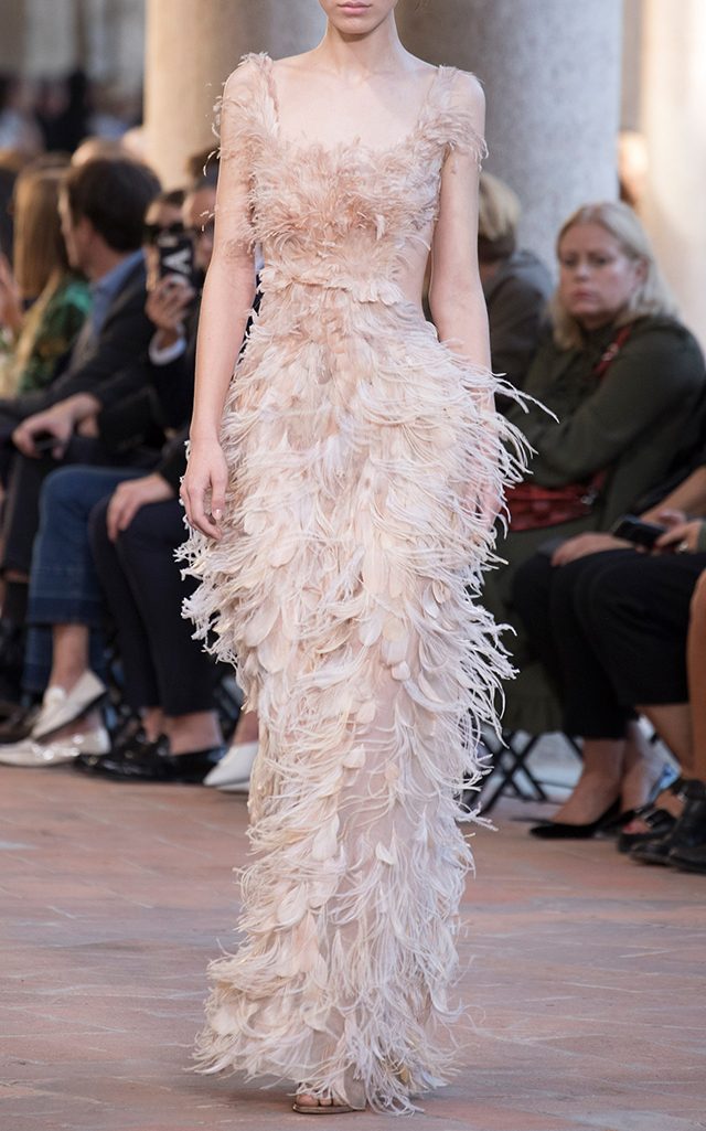 Sleeveless Feather Gown by Alberta Ferretti | Moda Operandi