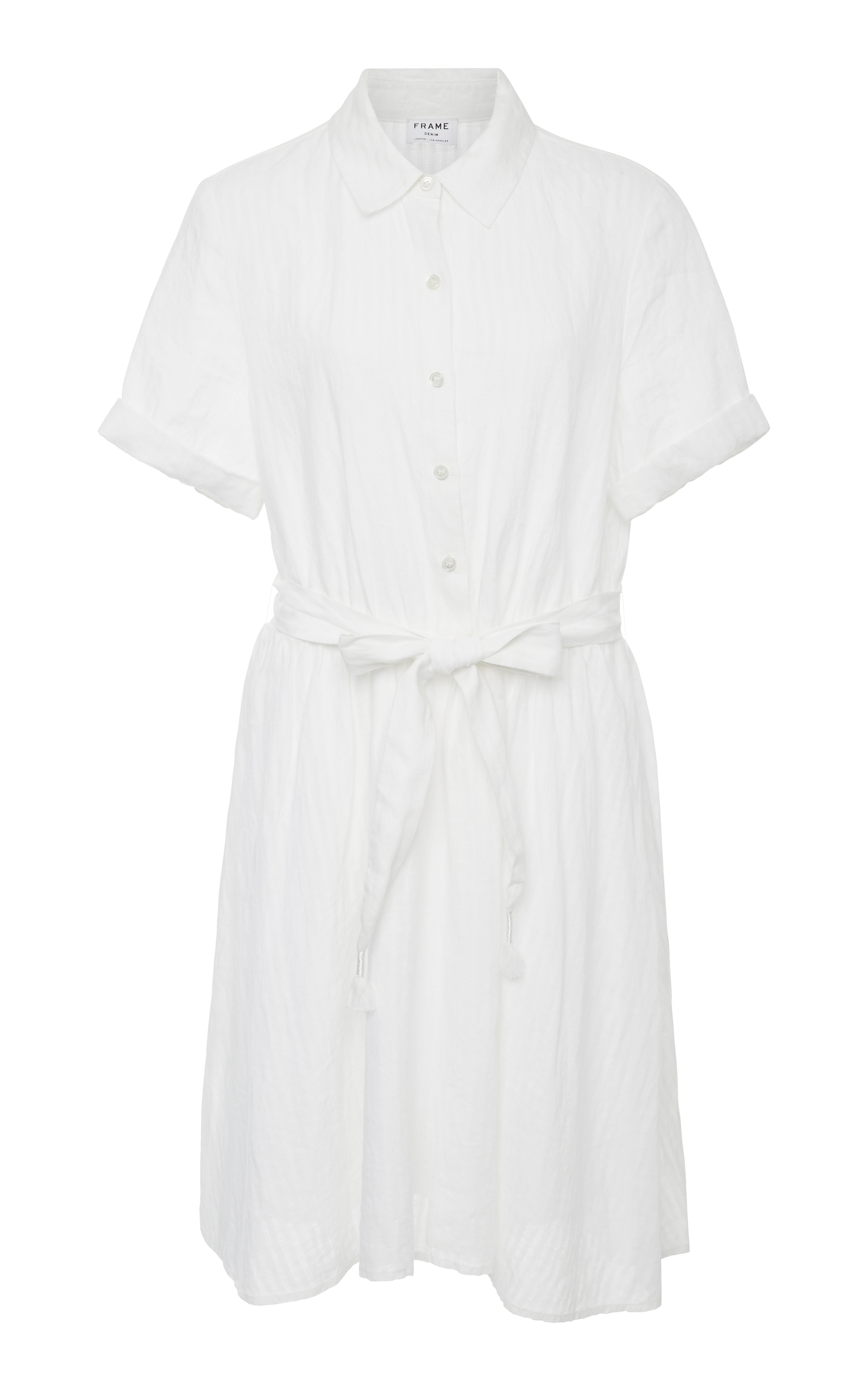 650402bc5d3 Frame Short-Sleeve Button-Down Striped Linen Dress In White