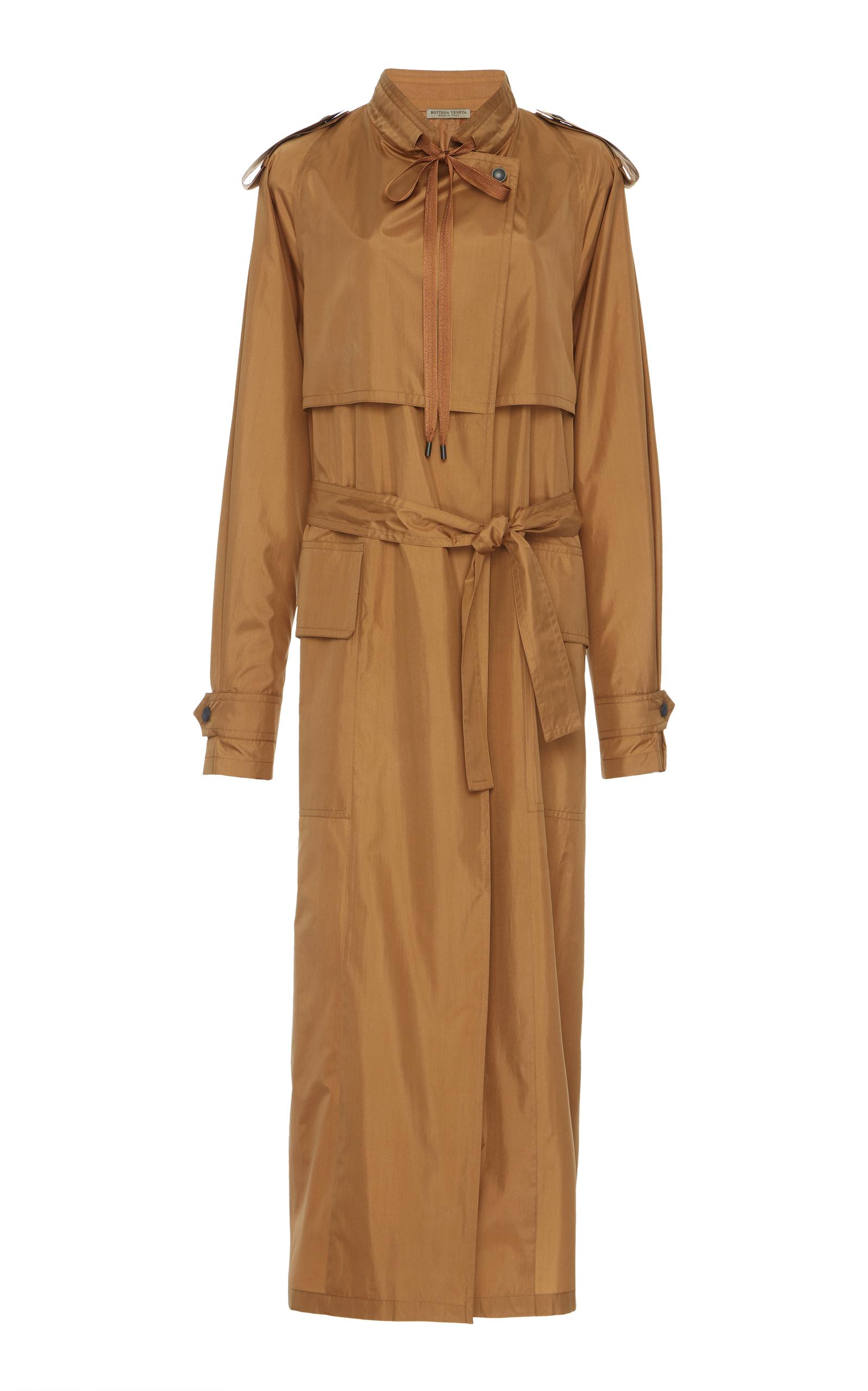 Tan Silk Satin Trench Coat in Brown