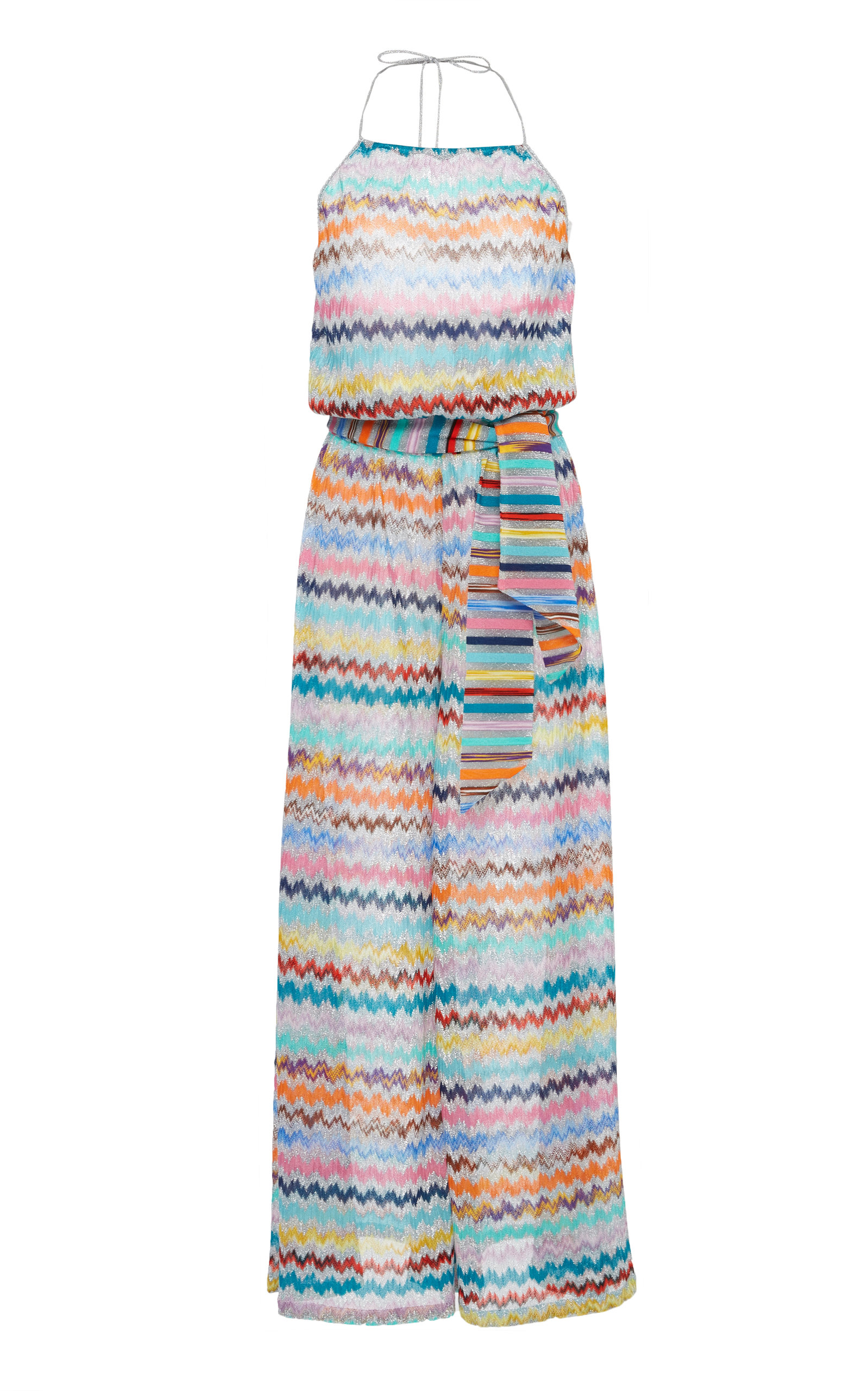 Metallic Printed Apon Neck Belted Jumpsuit, Silver