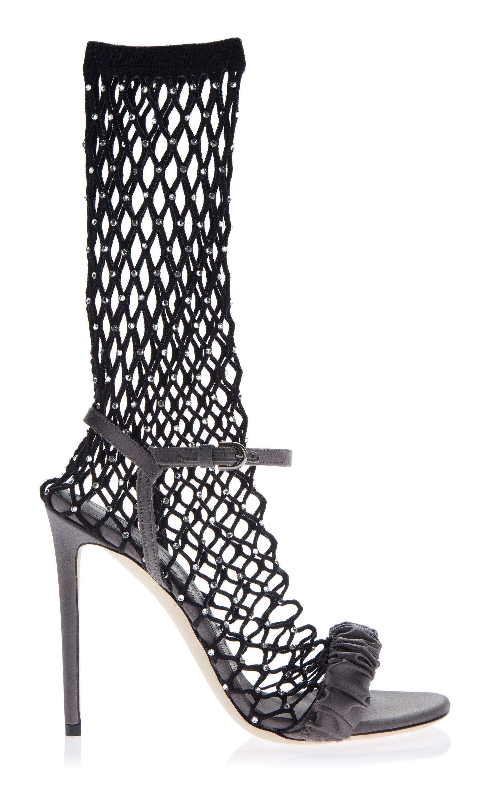 Crystal-Embellished Fishnet Sandal in Grey