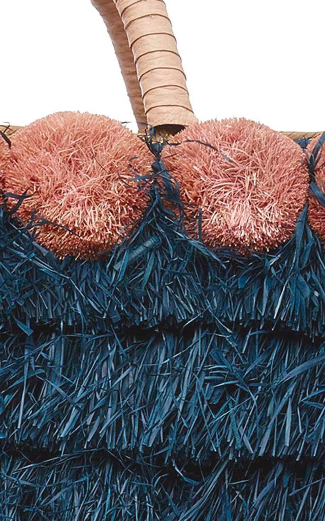 Lucca Pompom-Embellished Fringed Raffia Tote Kayu rmrDQ2