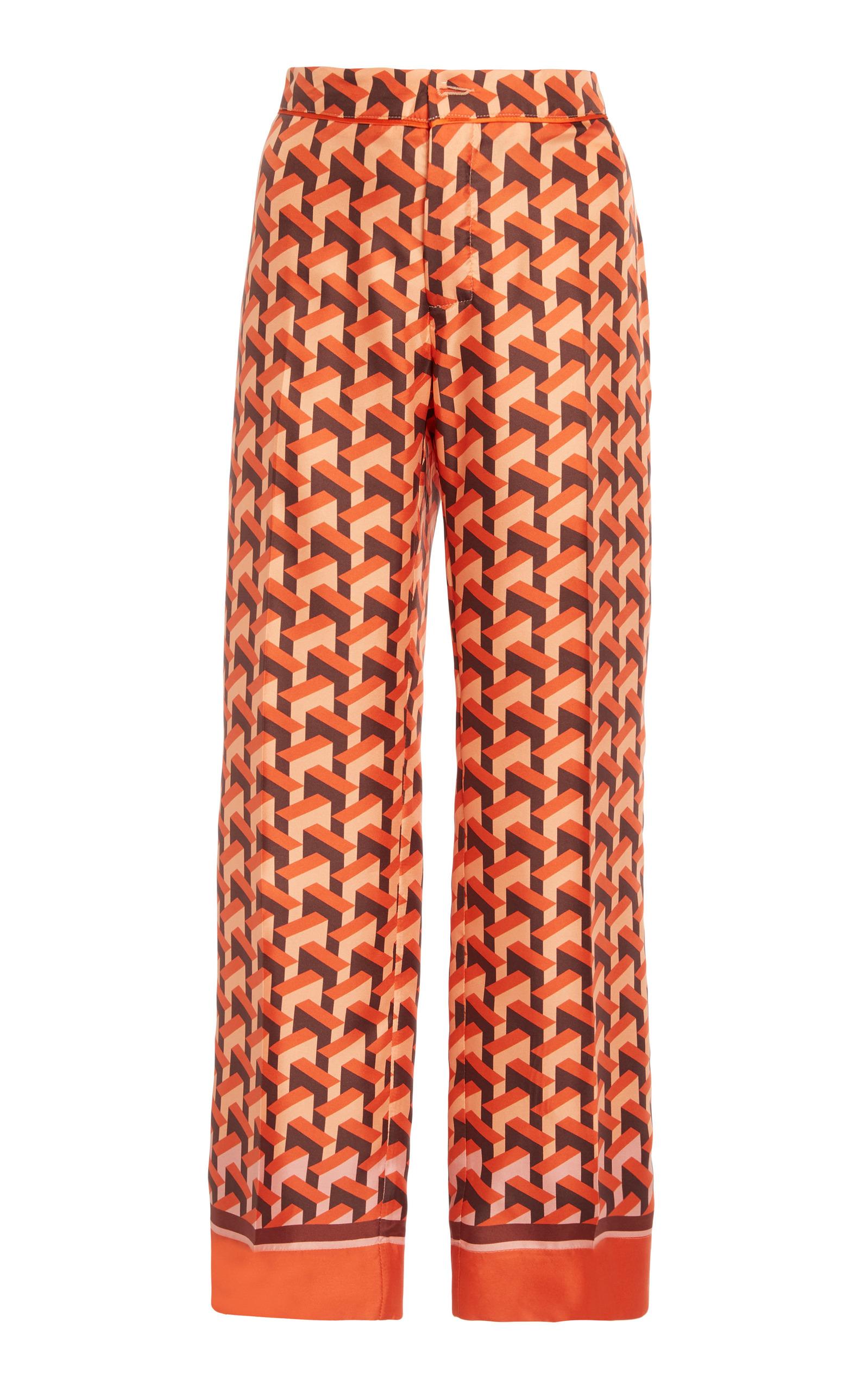 Ceo Printed Silk-twill Straight-leg Pants - Orange F.R.S. For Restless Sleepers jUI0Fiia