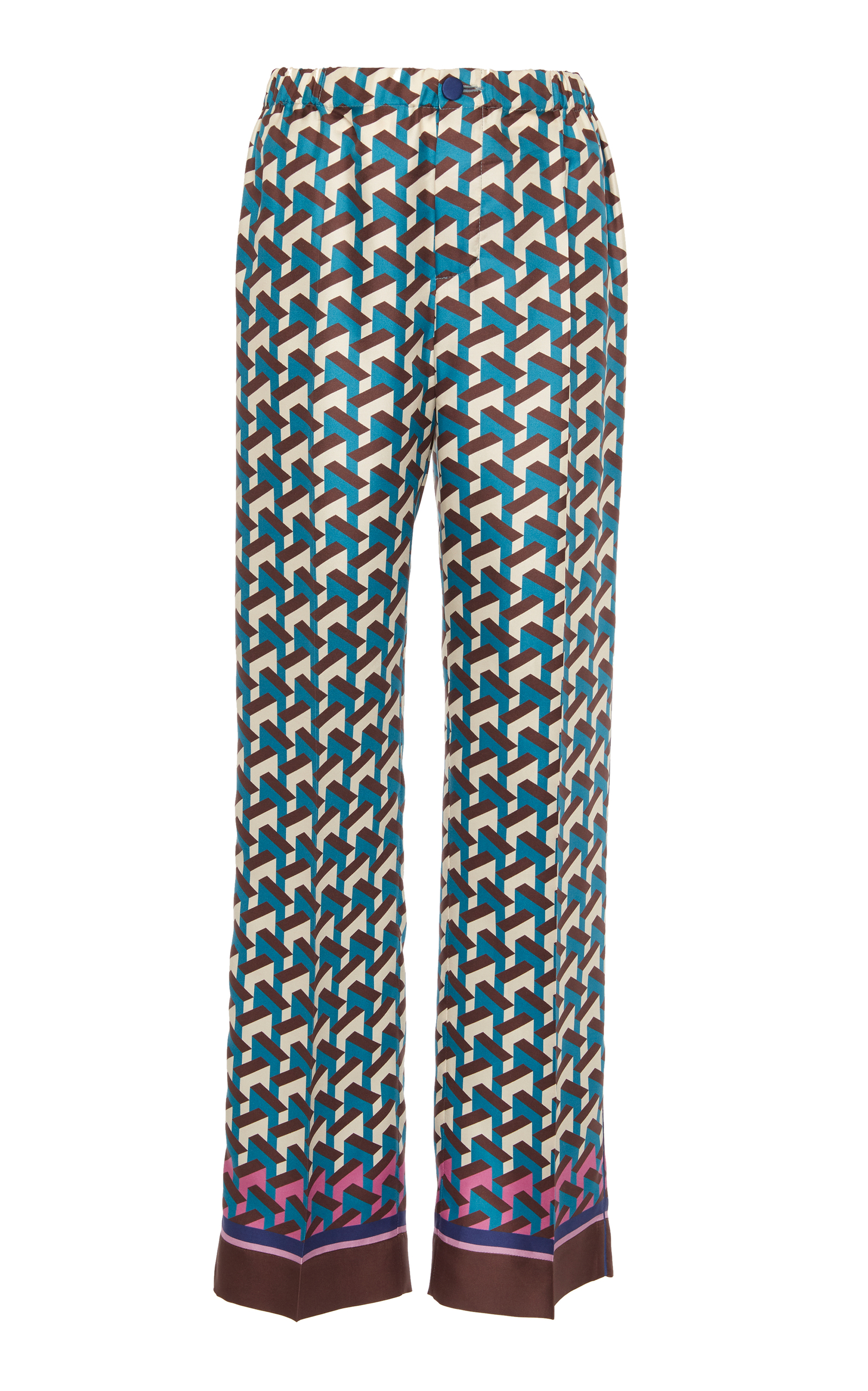 F.R.S FOR RESTLESS SLEEPERS Etere Printed Silk-Twill Straight-Leg Pants in Teal