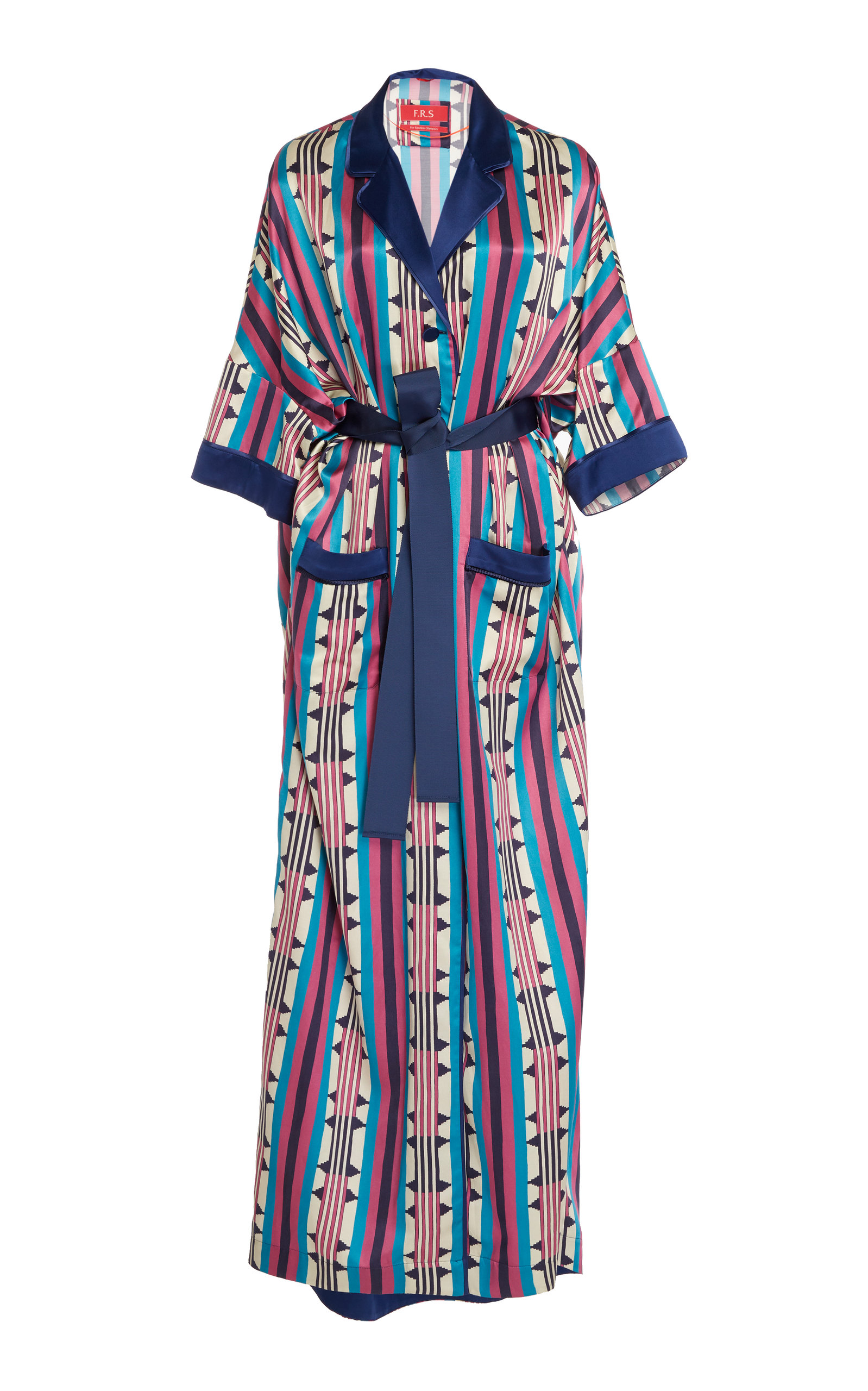 F.R.S FOR RESTLESS SLEEPERS Eurinome Belted Printed Cotton And Silk-Blend Maxi Dress in Navy