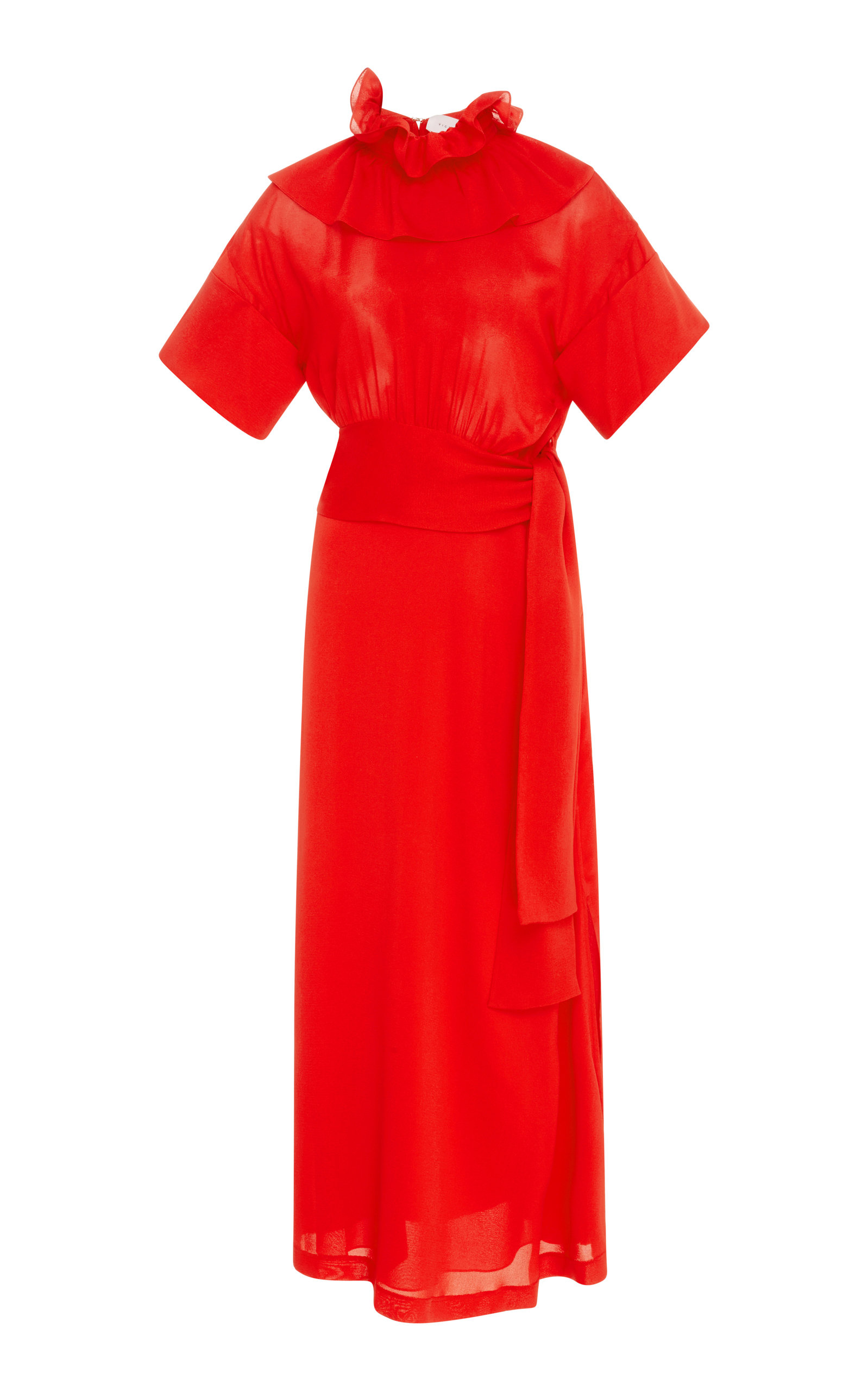 Woven Ruffle Neck Jersey Midi Dress Victoria Beckham O3WSumx