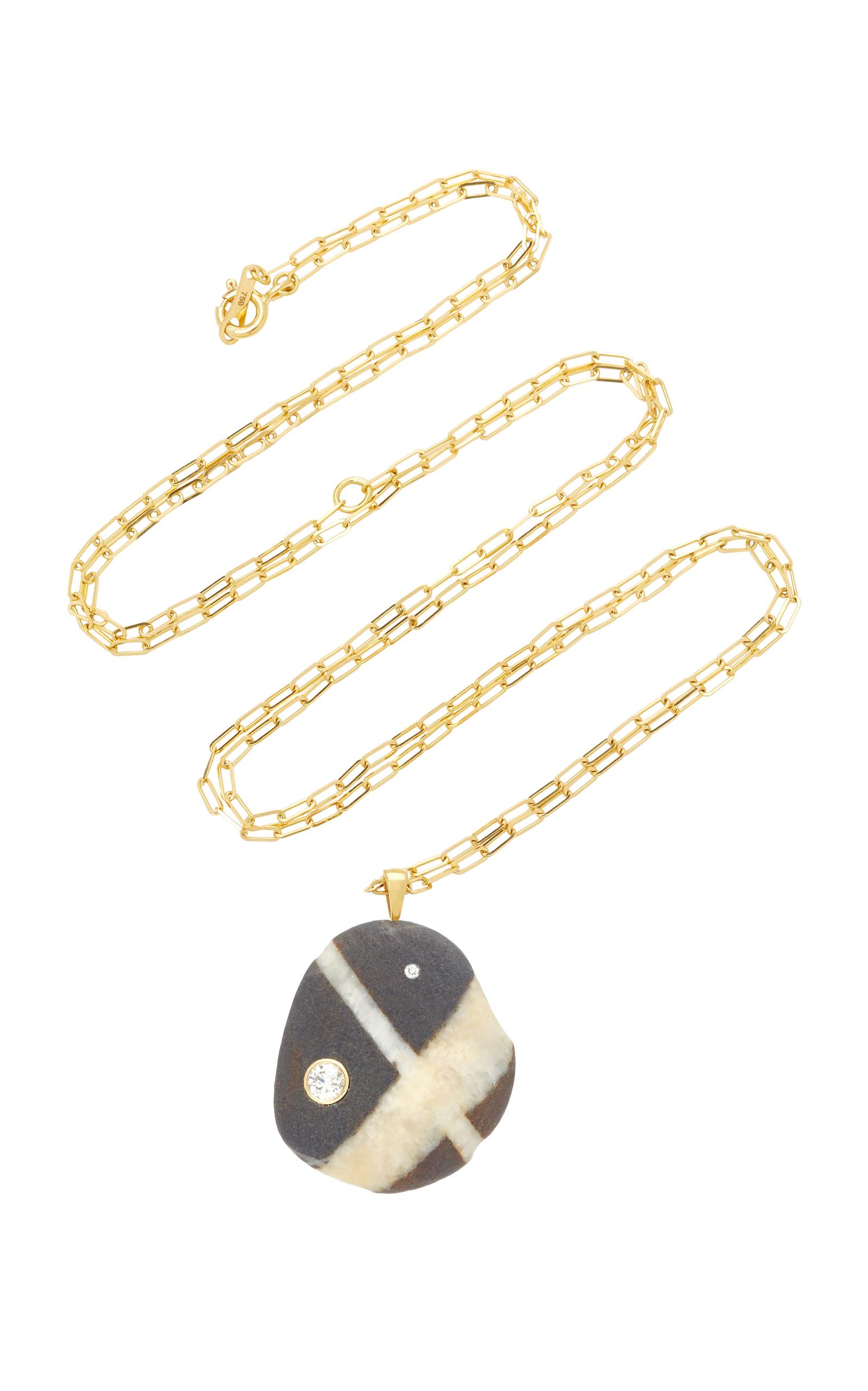 Elementare 18K Gold Beach Stone and Diamond Necklace CVC G66TnJXAp