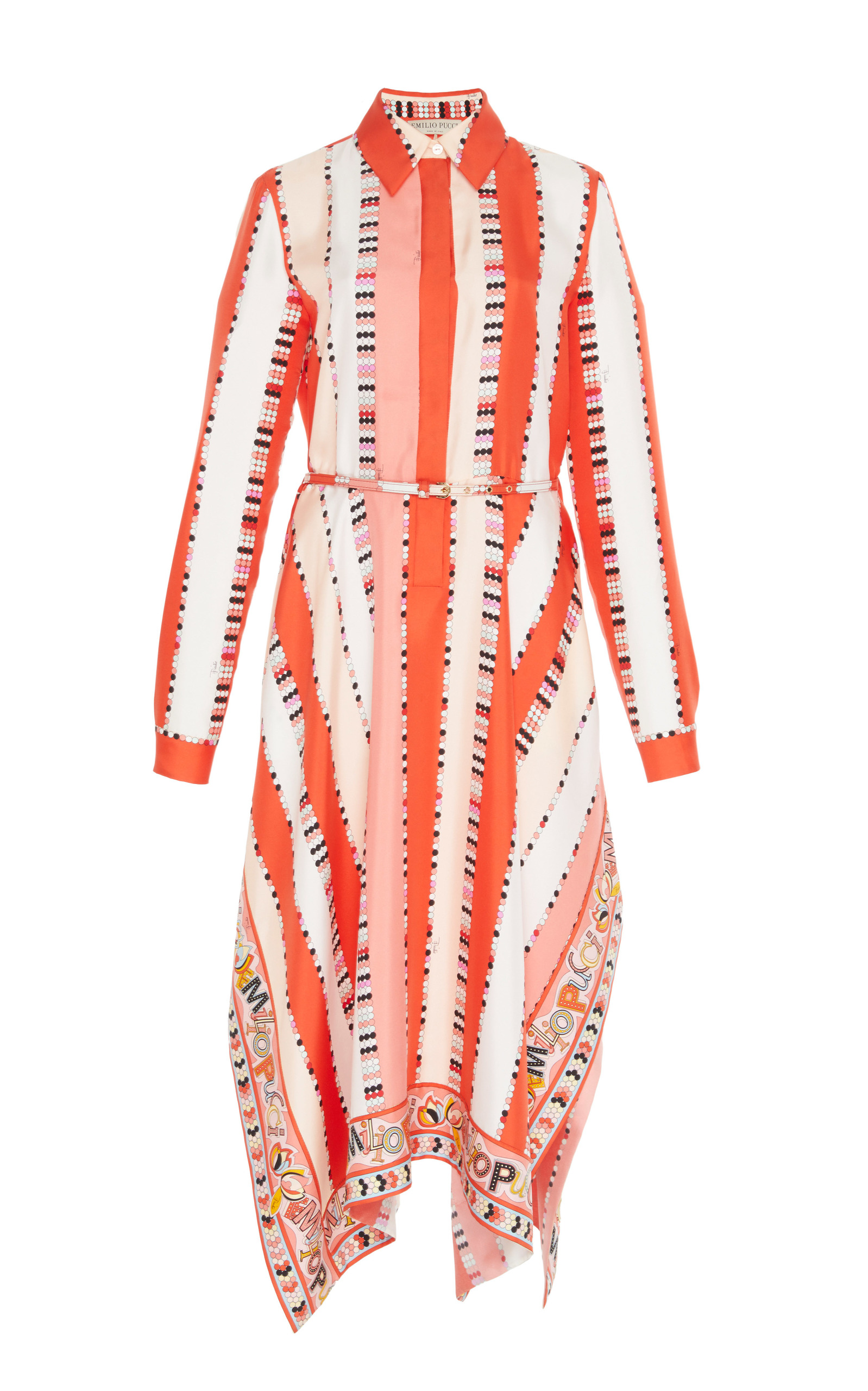 Printed Silk Twill Shirt Dress in Coral