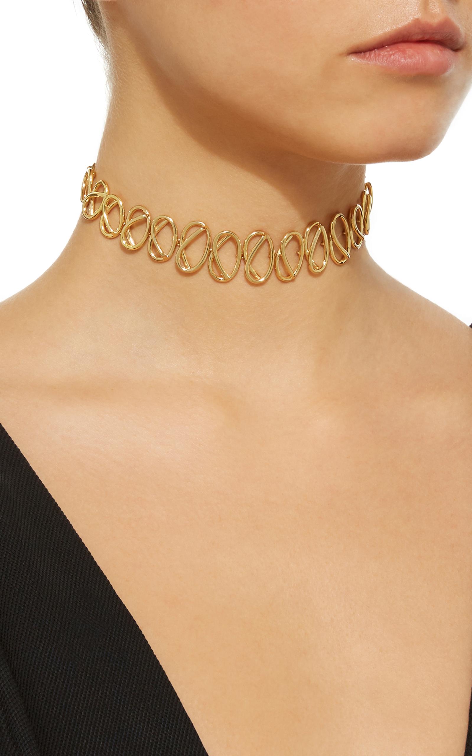 Gold-Plated Knot Choker Necklace Joanna Laura Constantine dkTrXrCq
