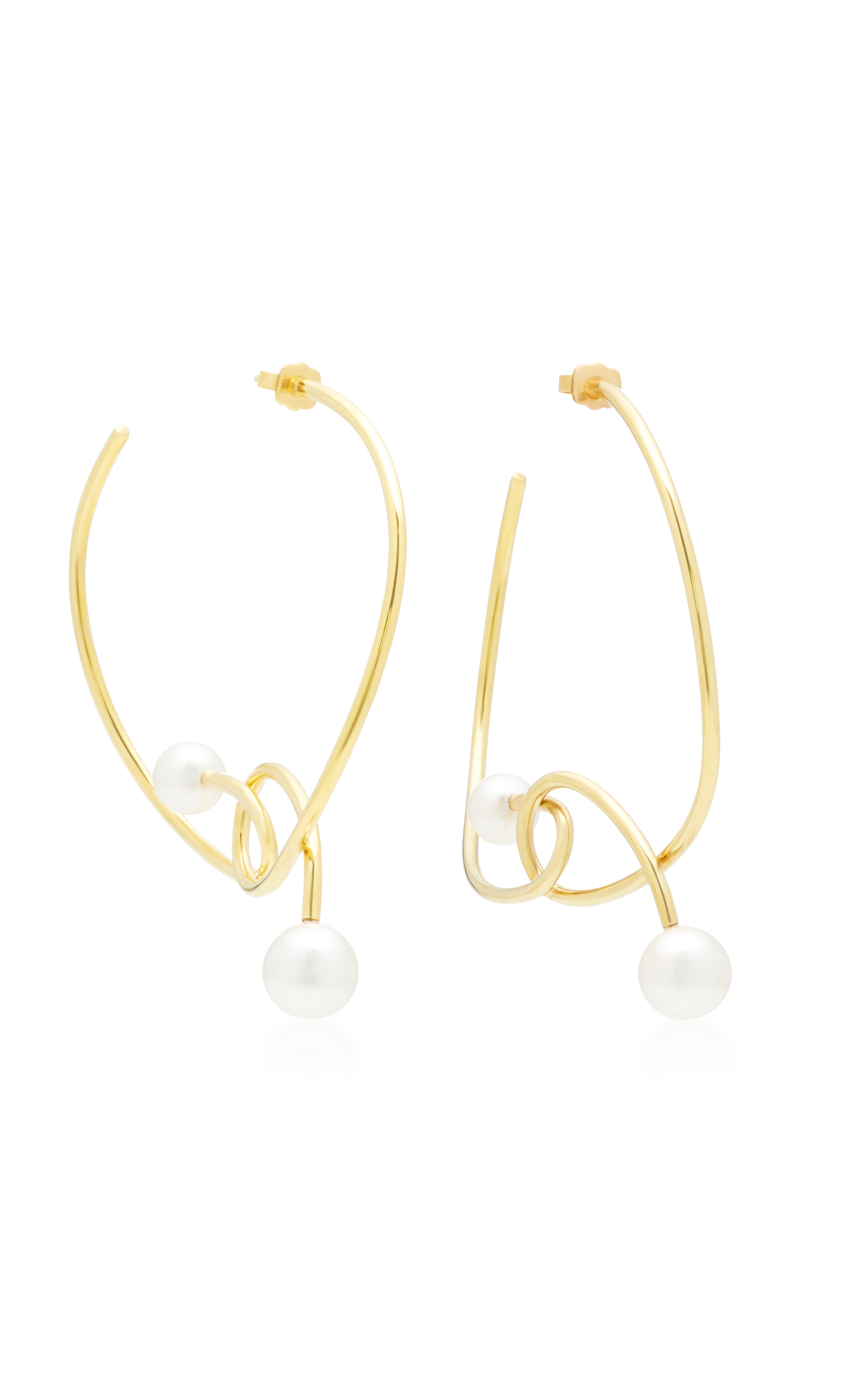 JOANNA LAURA CONSTANTINE GOLD-PLATED AND PEARL KNOT HOOP EARRINGS