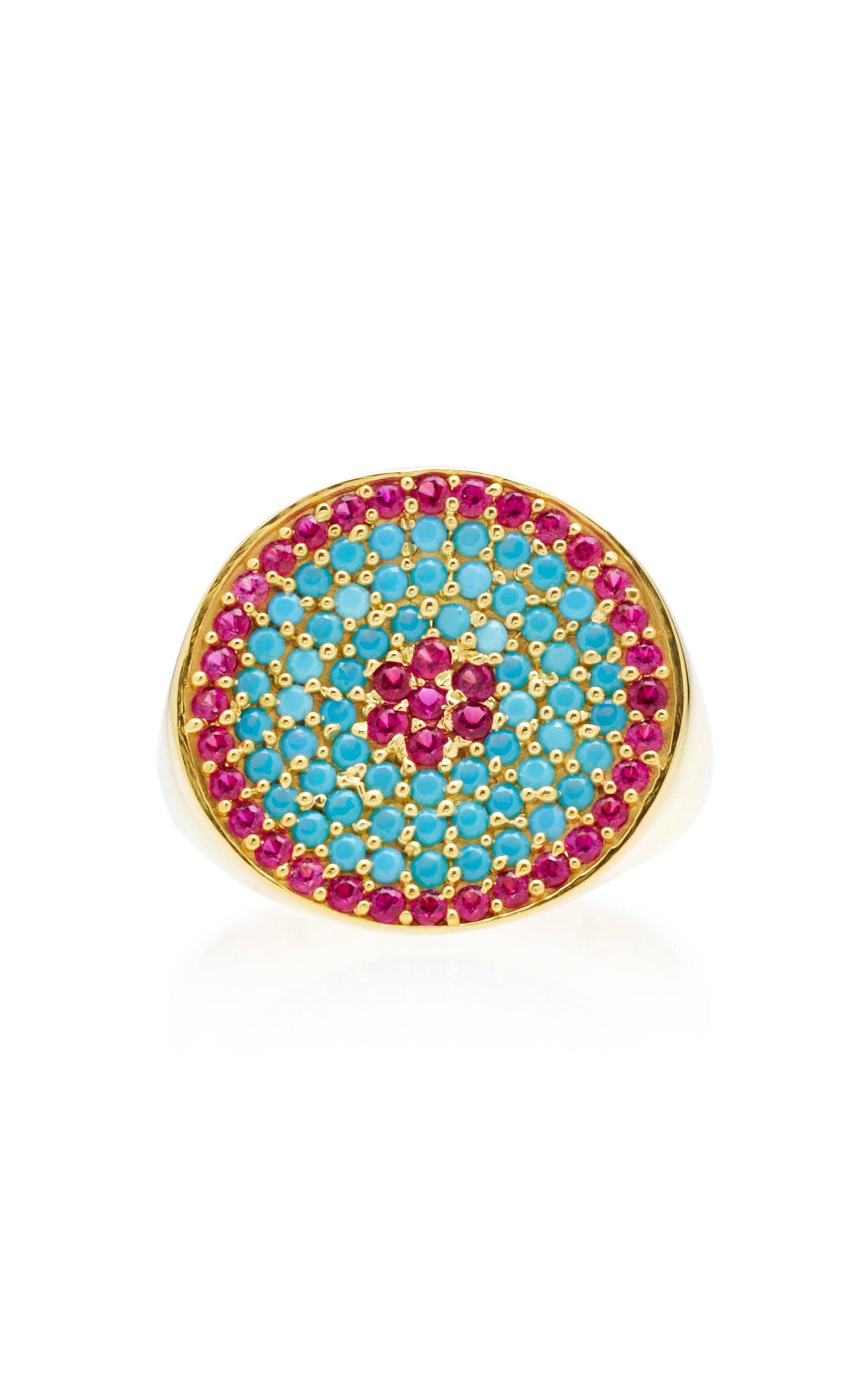 JOANNA LAURA CONSTANTINE GOLD-PLATED RUBY AND TURQUOISE TRIBAL PINKY RING