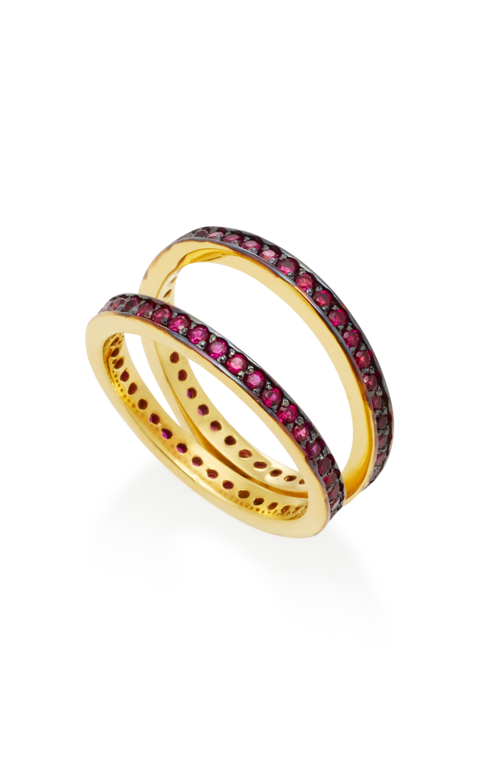 Gold-Plated Ruby Crisscross Ring Joanna Laura Constantine hfcrCmkgqR
