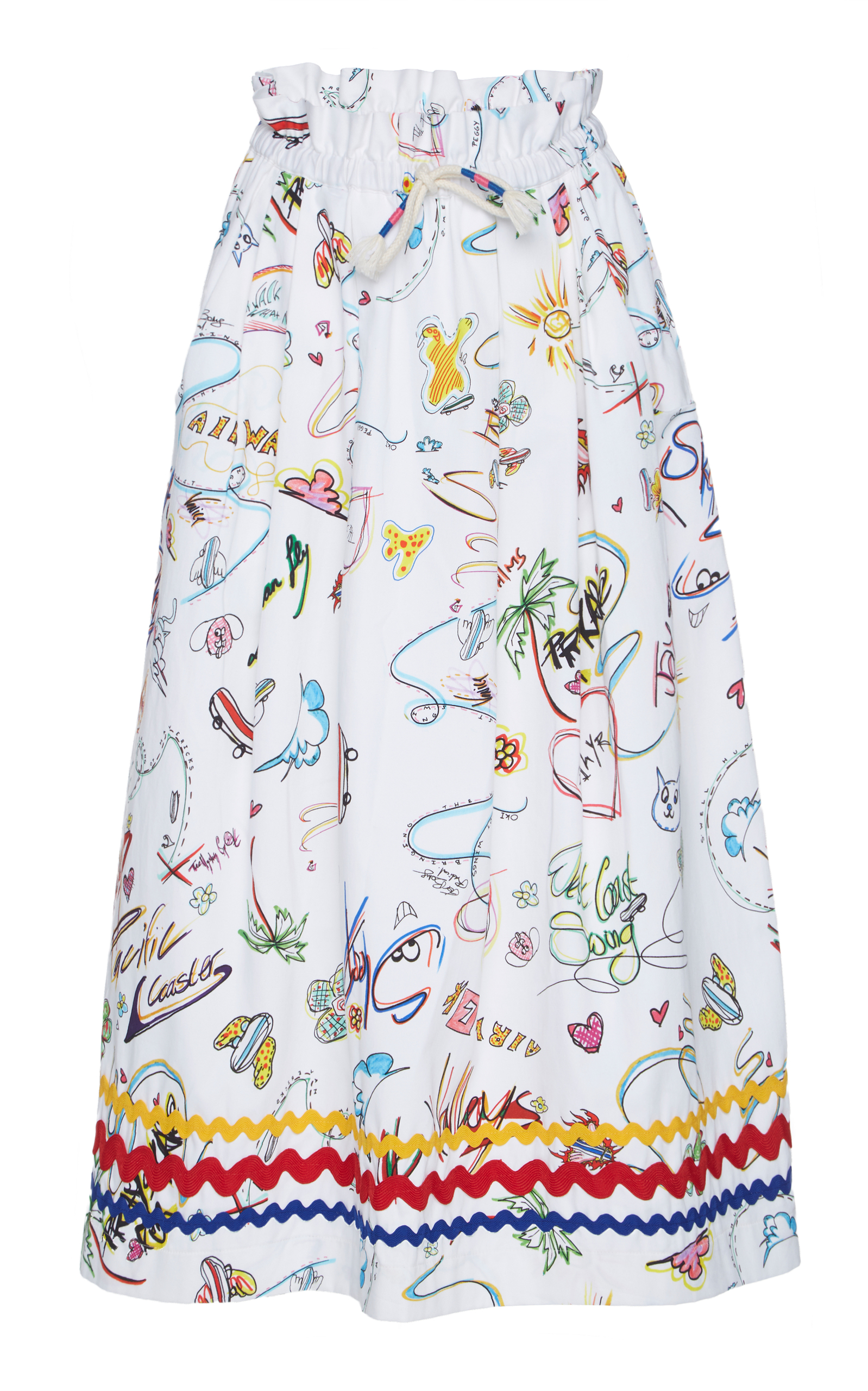 Printed Cotton-Blend Midi Skirt in White from Oxygen Boutique
