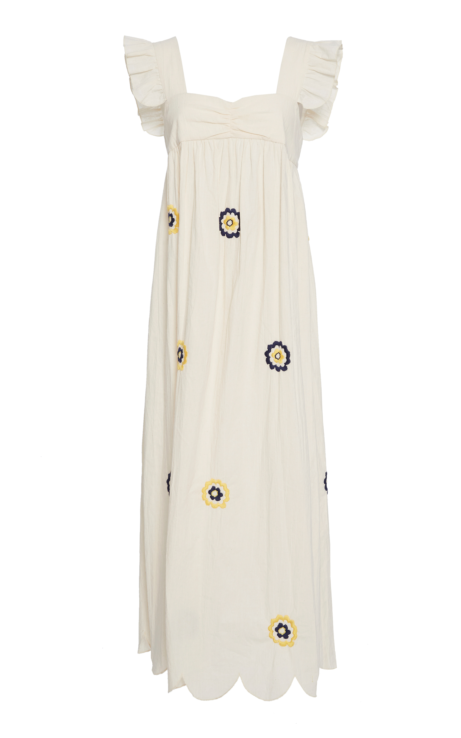 Fifi floral-embroidered ruffle-trimmed smock dress AlexaChung Discount Best Place 1omNWfo
