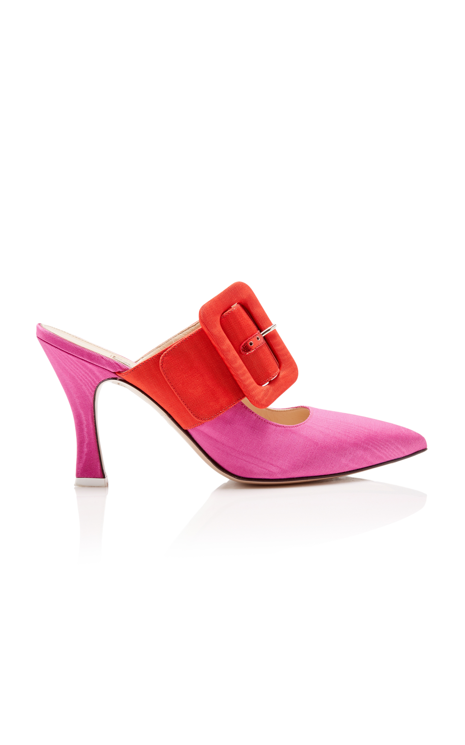 Bi Color Large Buckle Mule In Red And Fuchsia