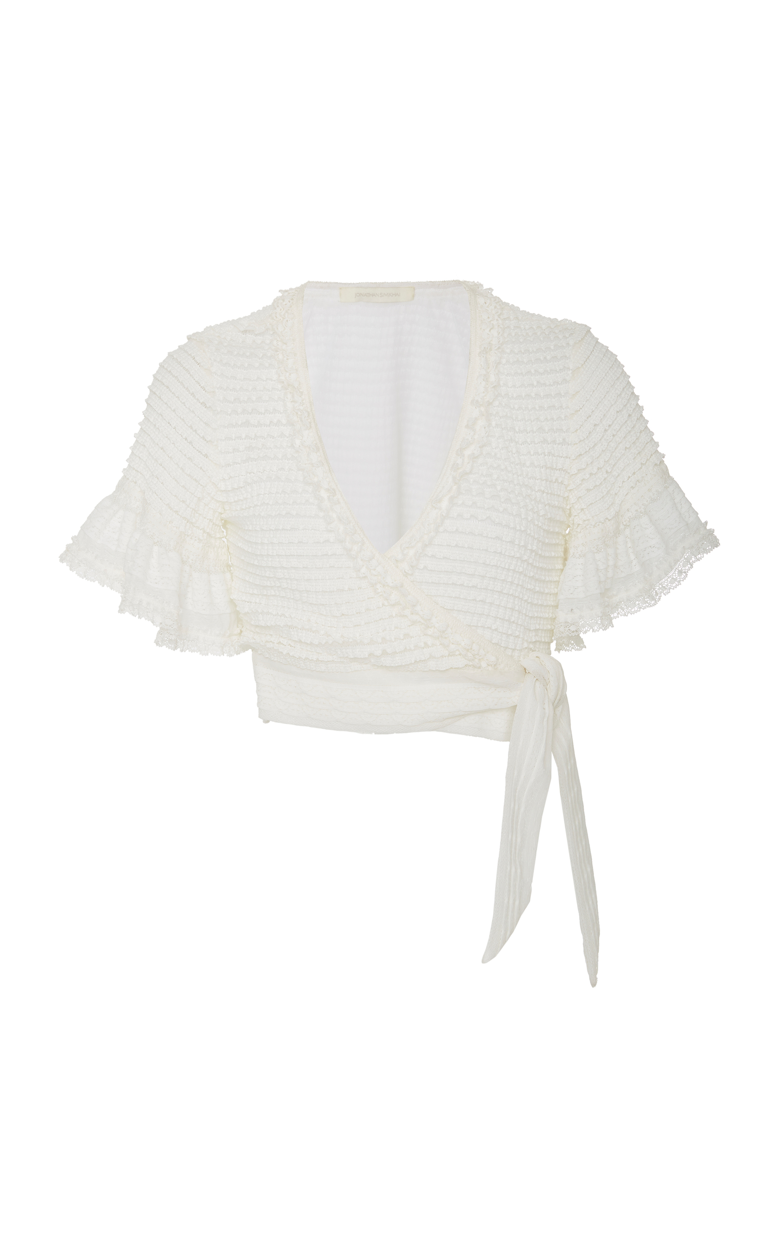 RUFFLED CROPPED KNITTED WRAP TOP