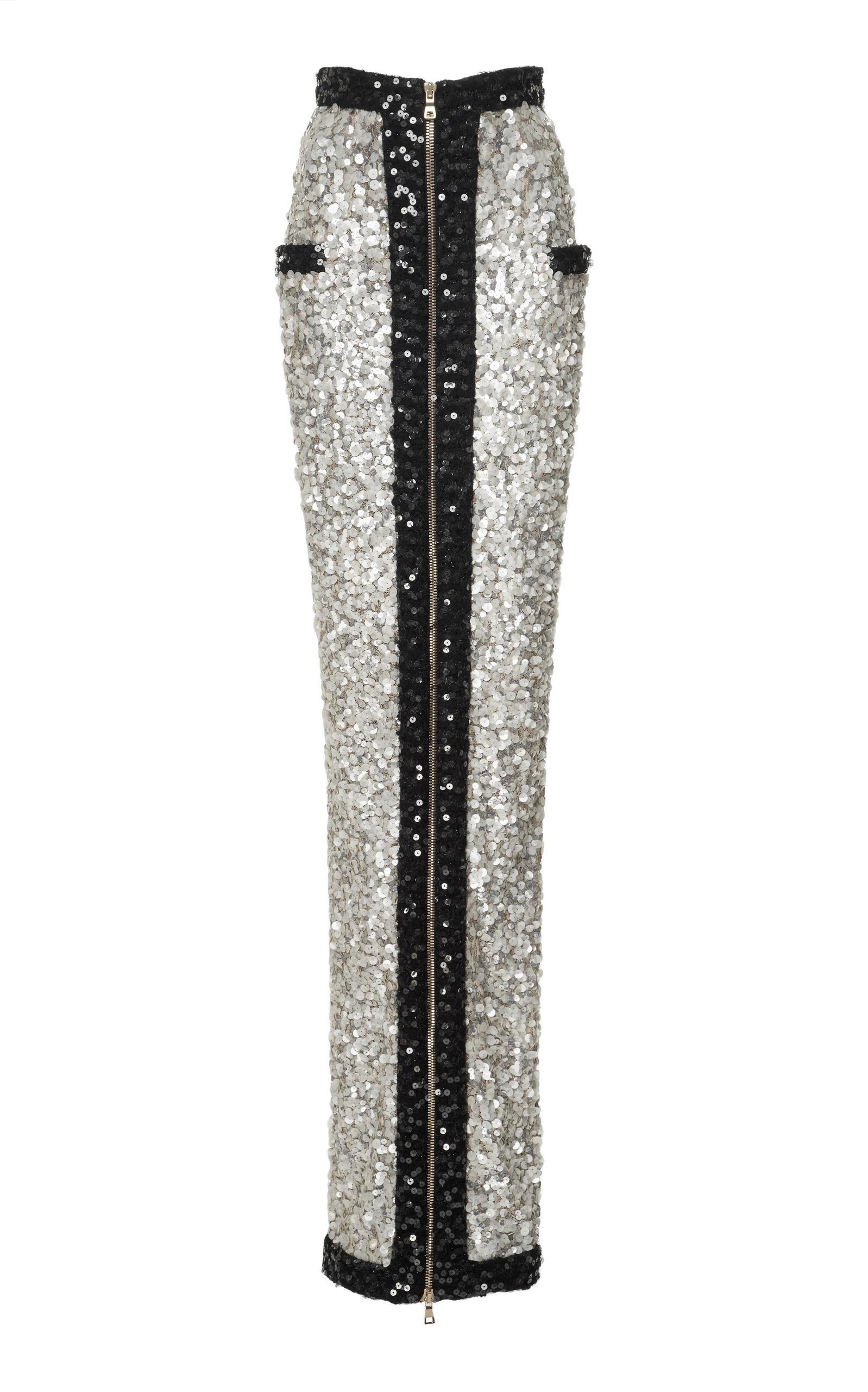 557ccb72ea Long Sequined Zip Skirt by Balmain | Moda Operandi