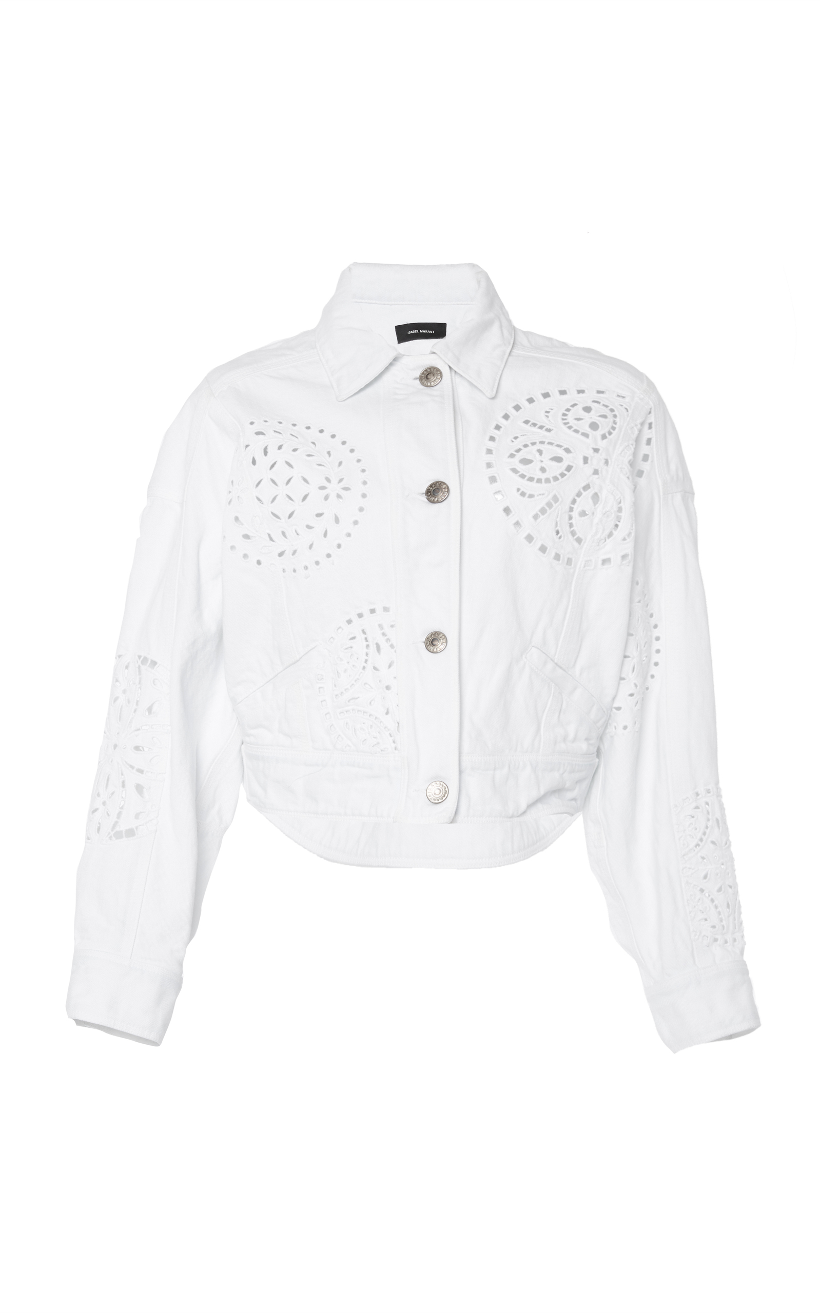 Embroidered Cutout Button-Front Jacket in White