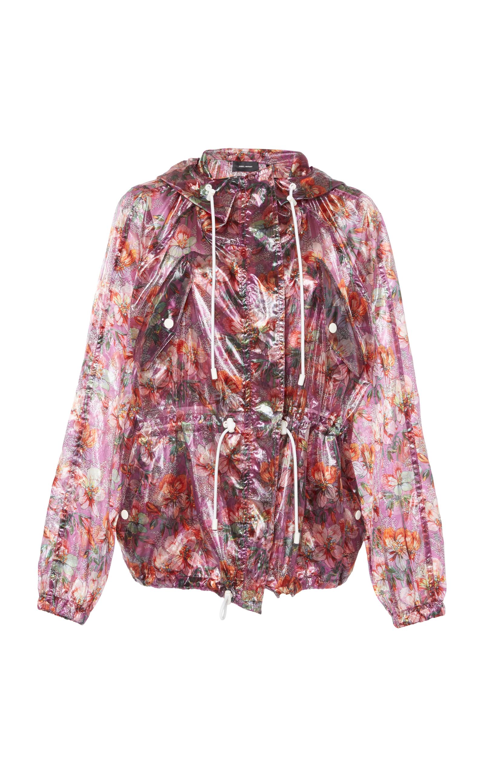 Olaz Hawaiian-Print Sheer Pullover Hooded Anorak Jacket, Purple