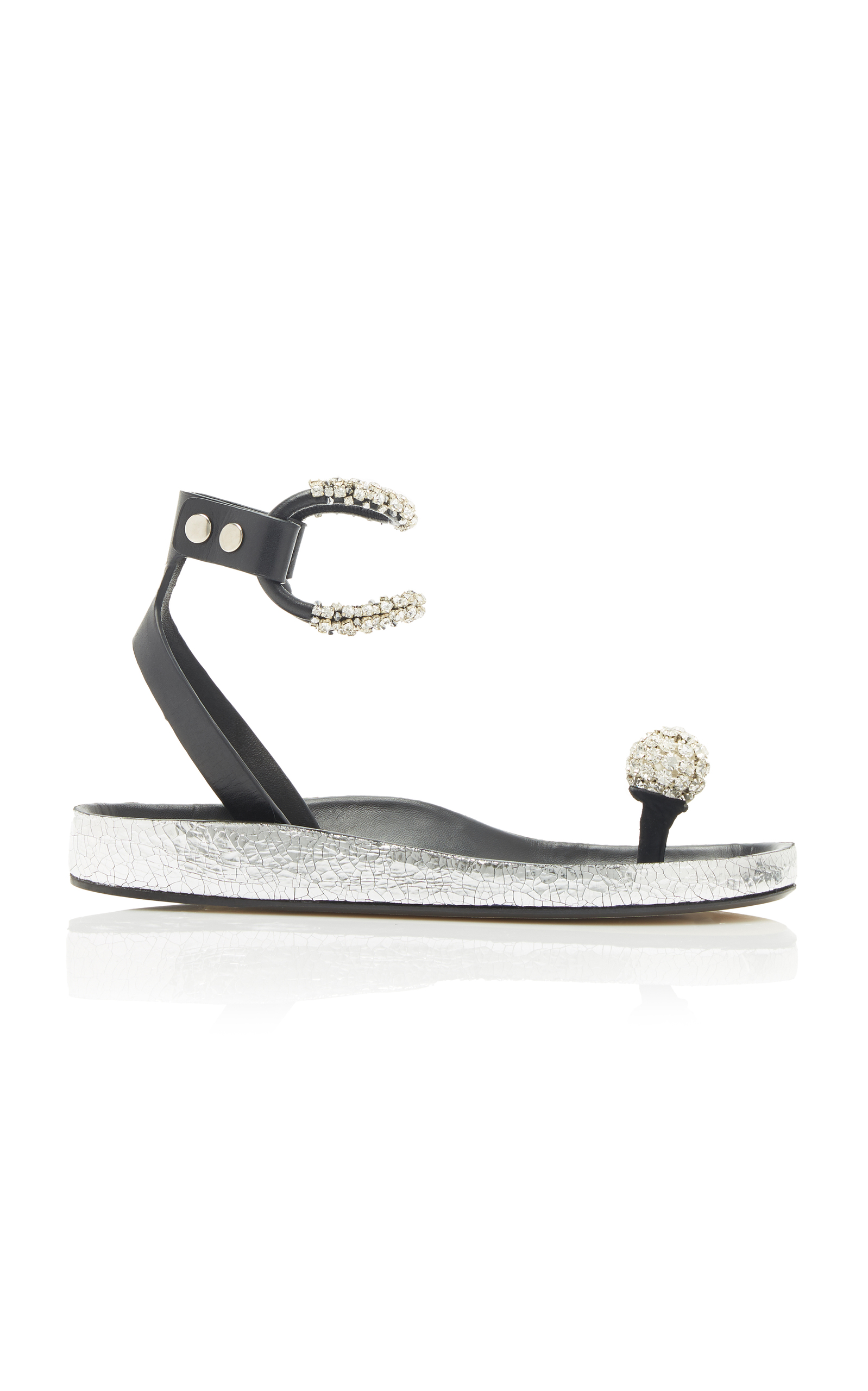 Ecly Crystal-Embellished Smooth And Cracked-Leather Sandals in Silver