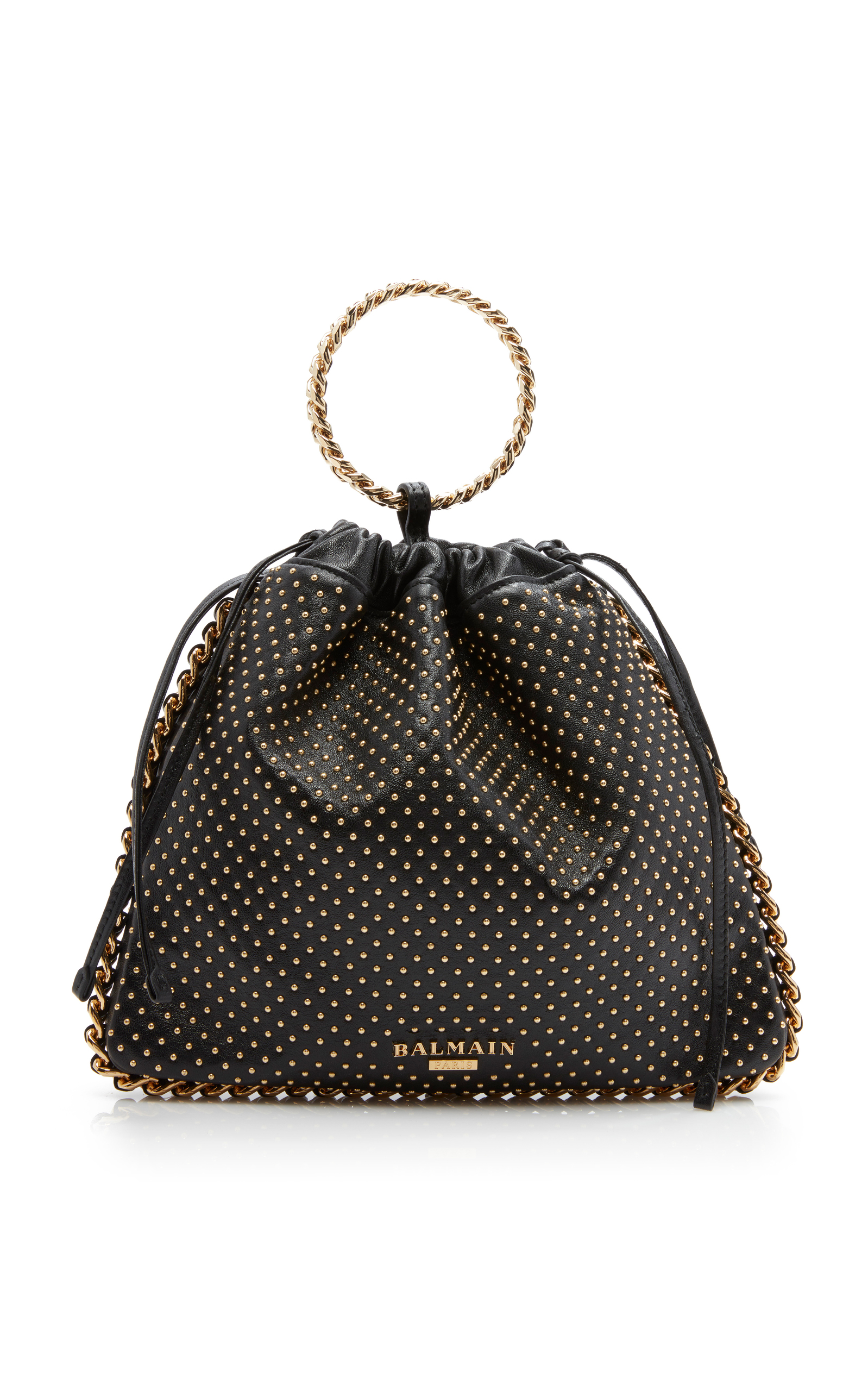B Link Bracelet Studded Leather Backpack in Black