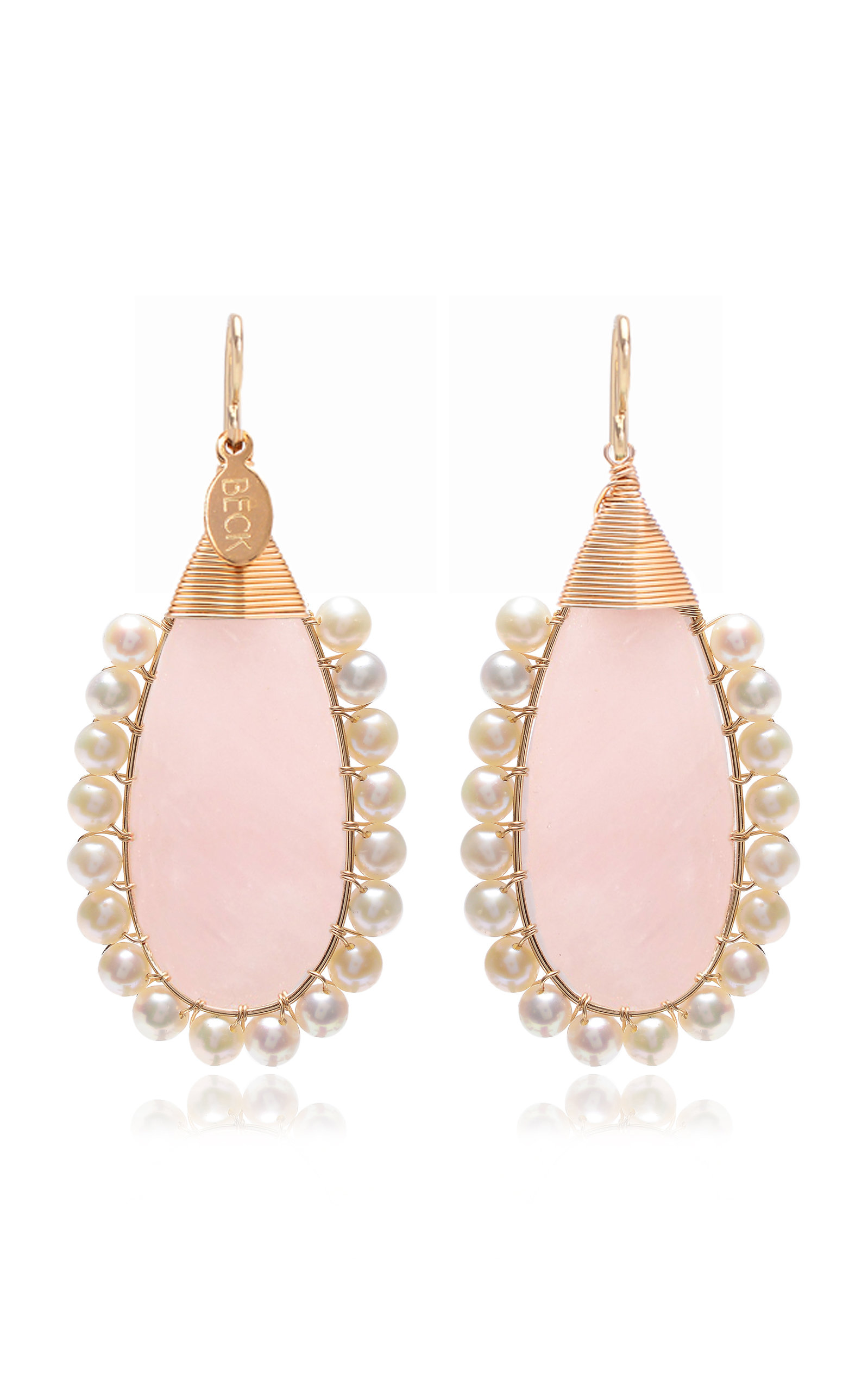 BECK JEWELS ROSE LOLITA GOLD-FILLED ROSE QUARTZ AND PEARL EARRINGS
