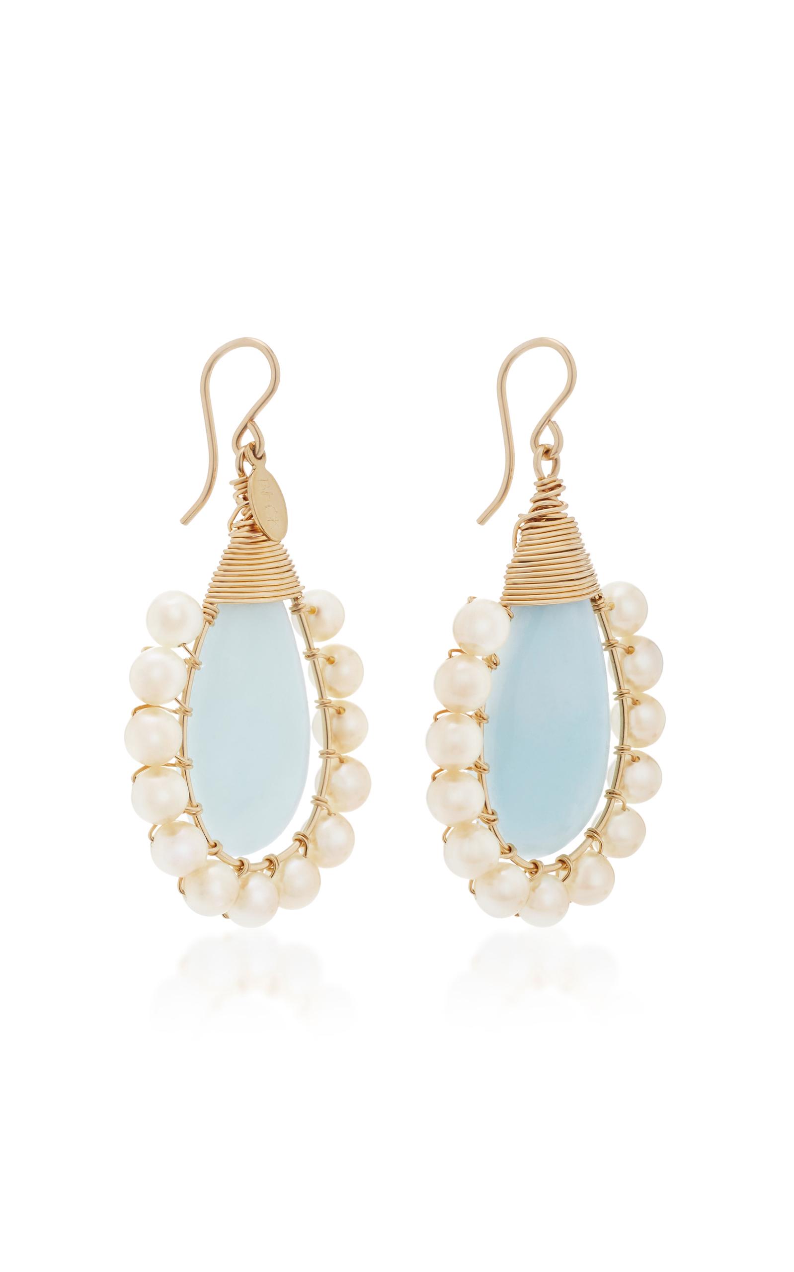 Aquamarine And Pearl Earrings Close Loading