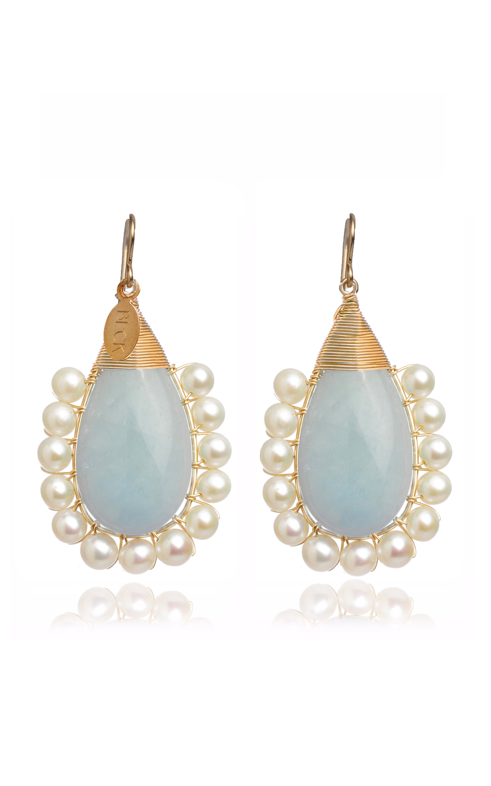 BECK JEWELS AQUA LOLITA GOLD-FILLED AQUAMARINE AND PEARL EARRINGS