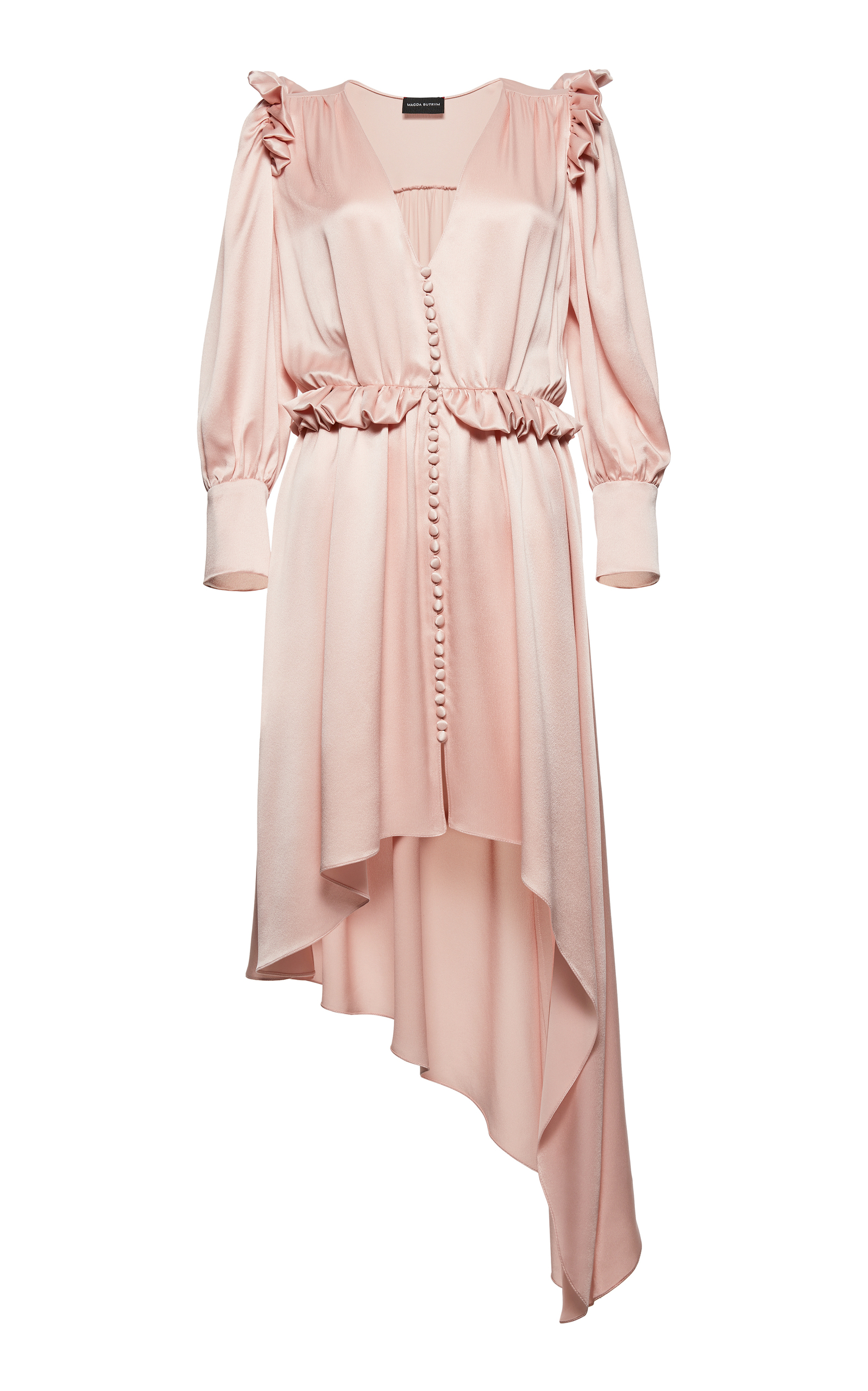 Tarragona Asymmetric Ruffled Silk-Satin Dress in Pink