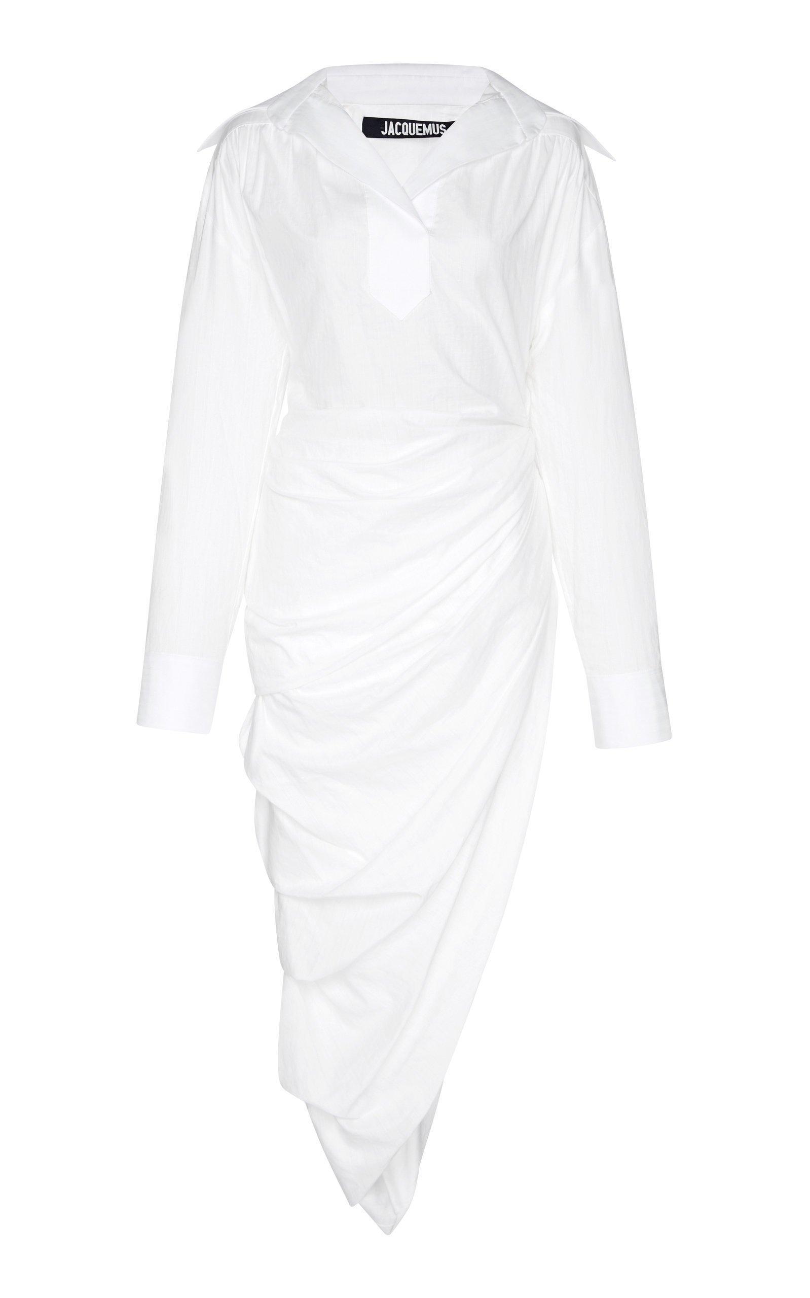 Asymmetrical Draped Shirt Dress in White