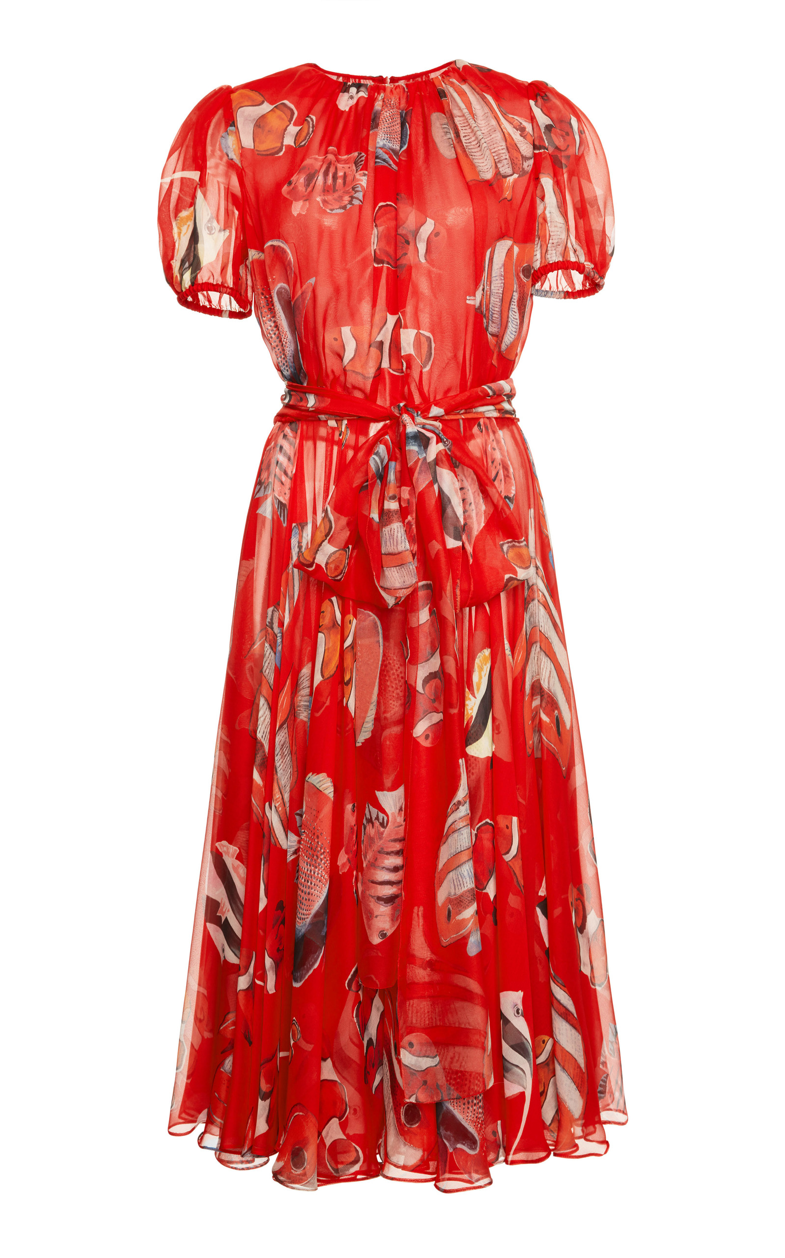 Short-Sleeve Belted Fish-Print Pleated Chiffon Cocktail Dress, Red