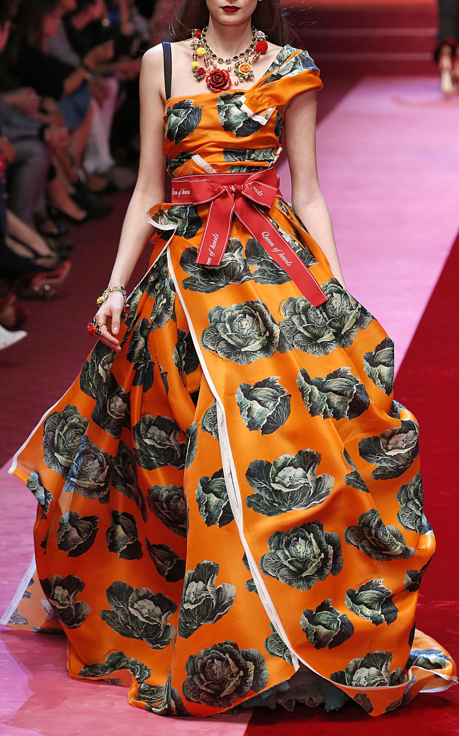 One Shoulder Printed Cabbage Gown By Dolce Gabbana Moda Operandi