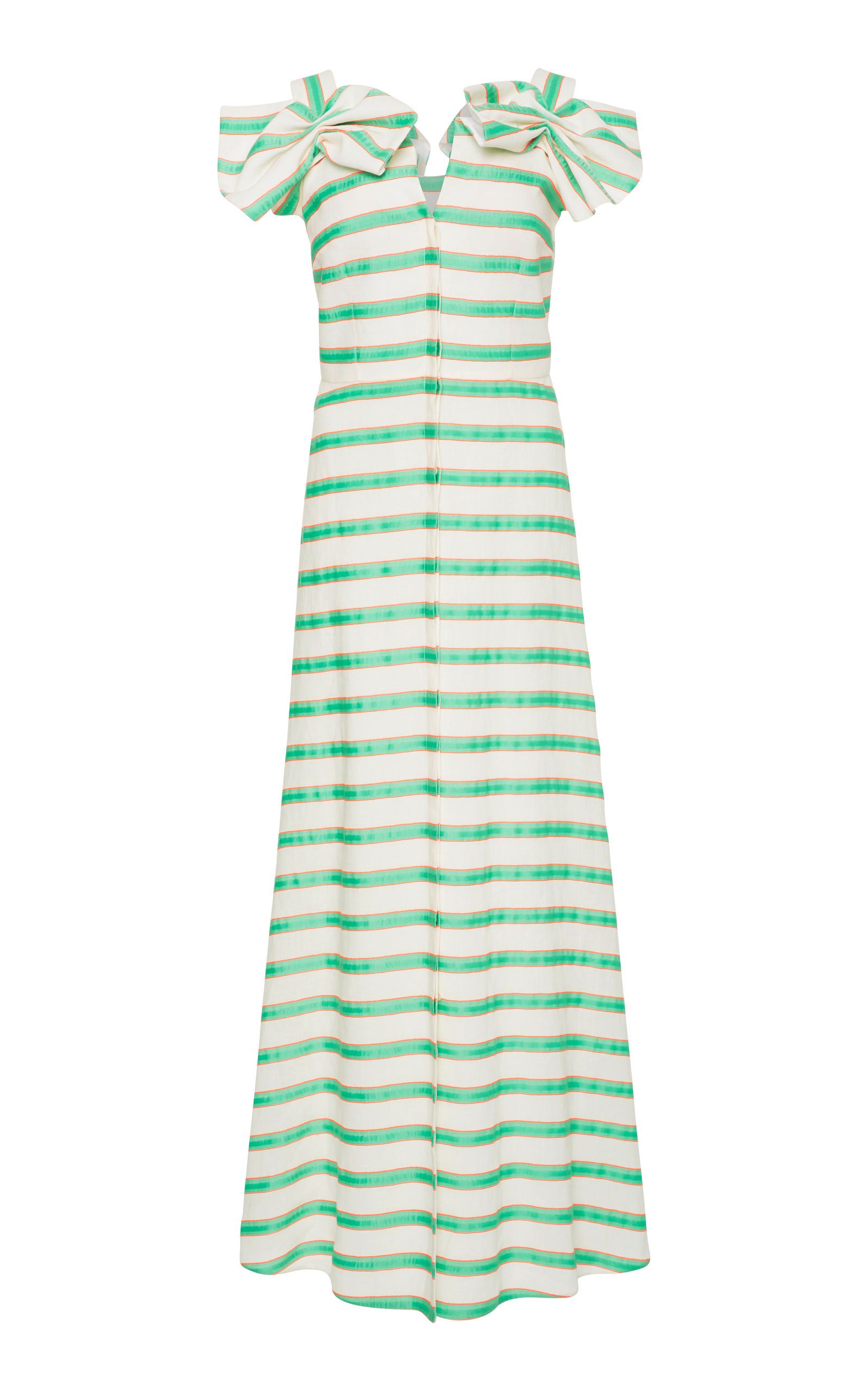 DELPOZO Bow-Embellished Striped Midi Dress in White
