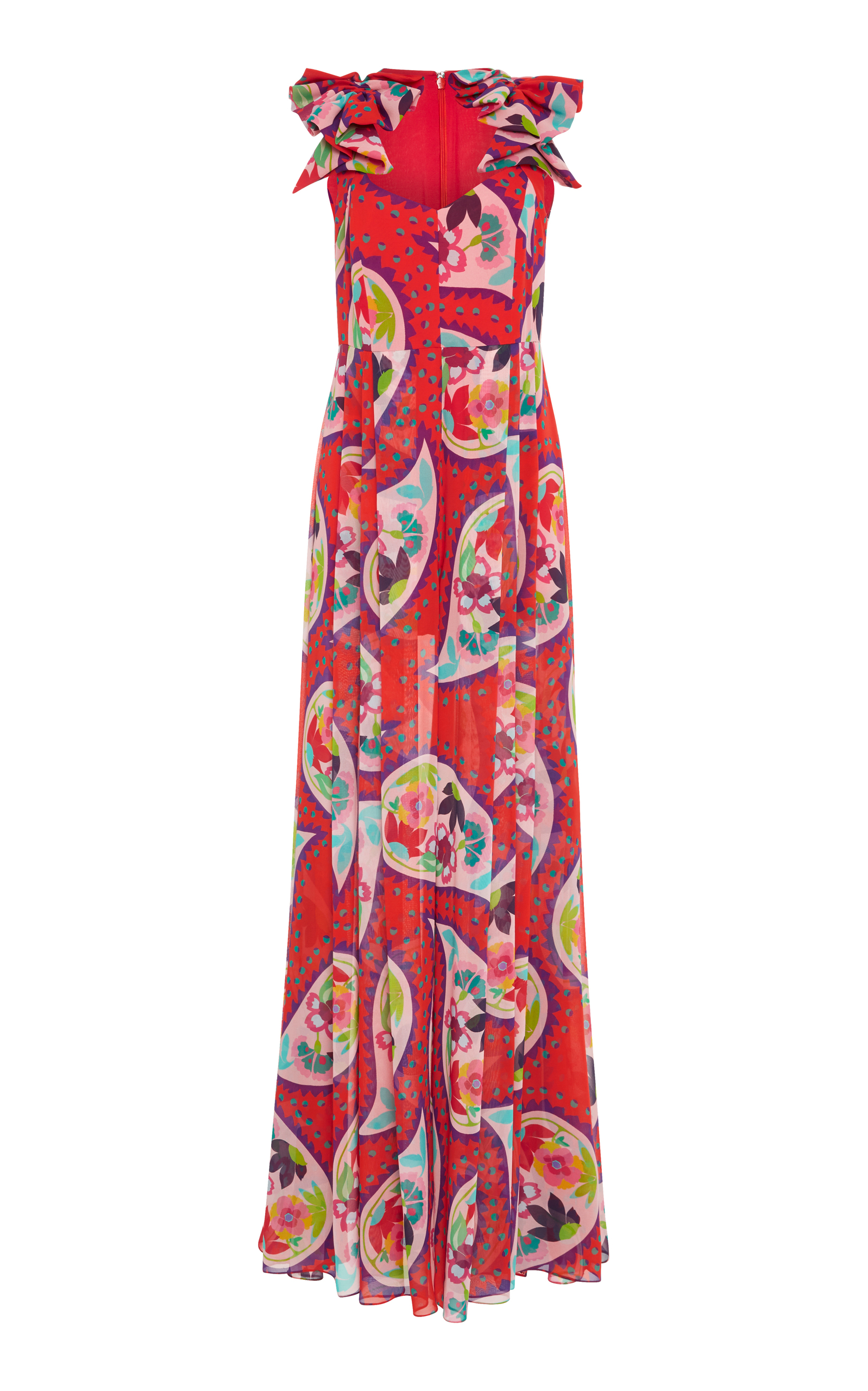 Printed Silk Jumpsuit in Red