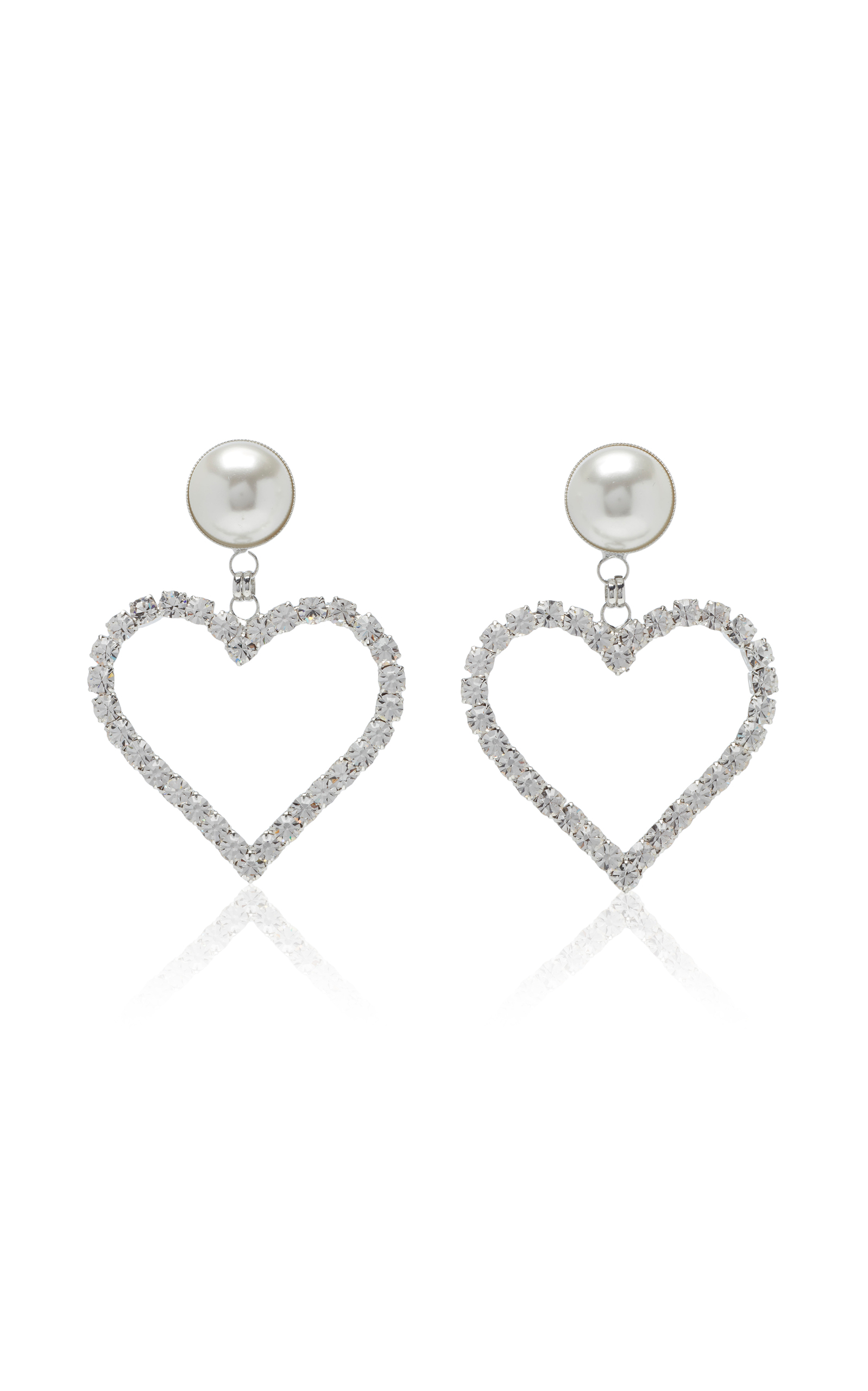 Alessandra Rich Crystal Heart Earrings With Pearl Clip In Silver