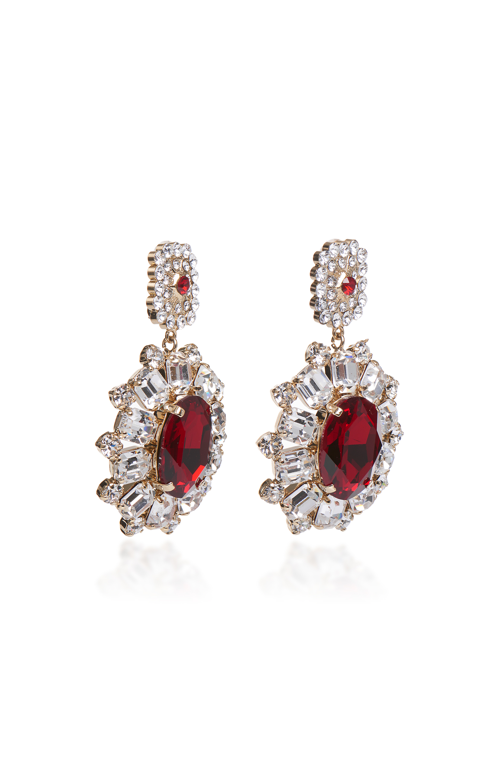 stud earrings crystals with swarovski in gold crystaluxe mm itm red crystal