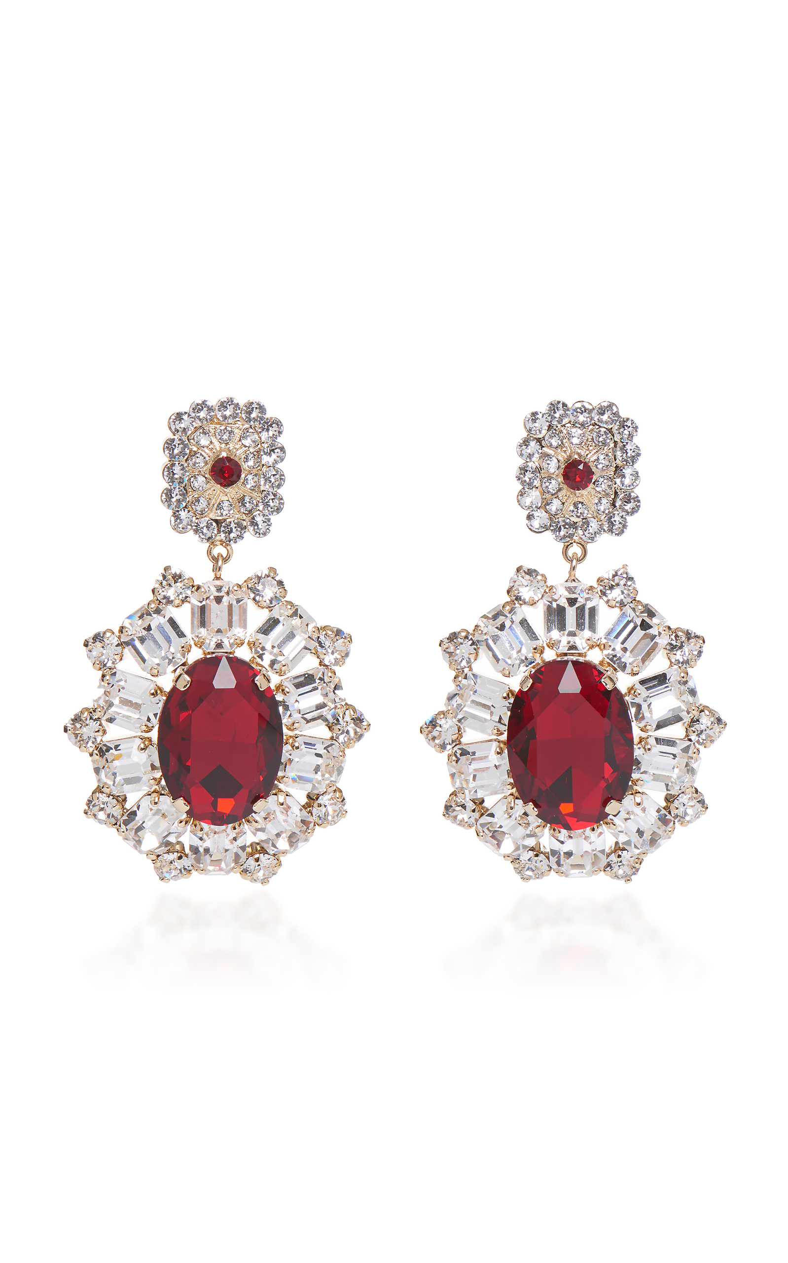 crystal velvet ruby red vintage drop rhinestone blue deco earrings