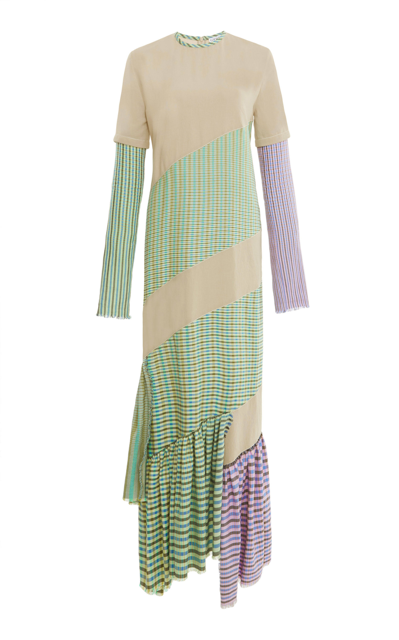 Patchwork Plaid Cotton Dress in Neutrals