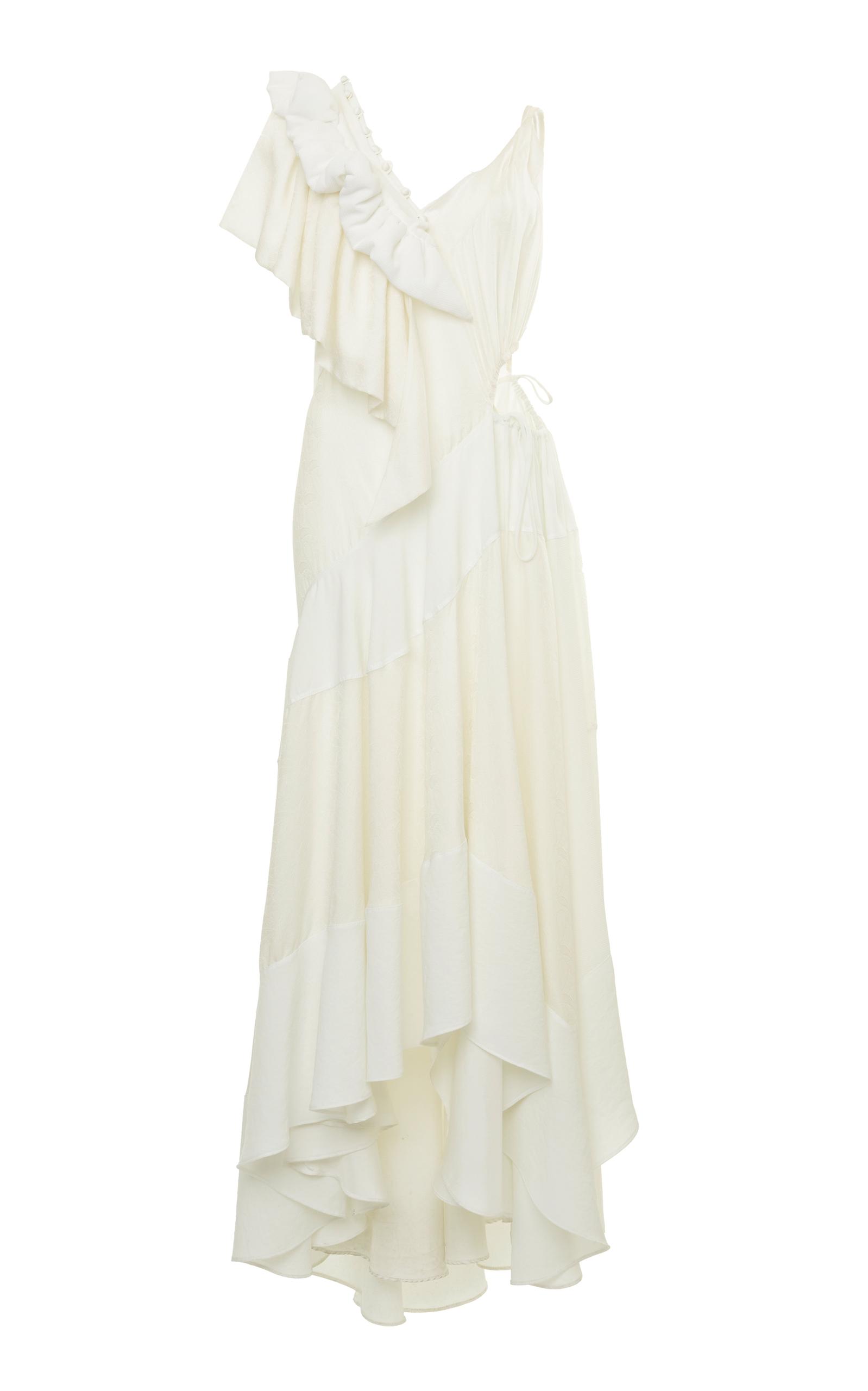Cutout Ruffled Jacquard And Crepe Dress - White Loewe Buy Cheap Really arNhDyyyfN