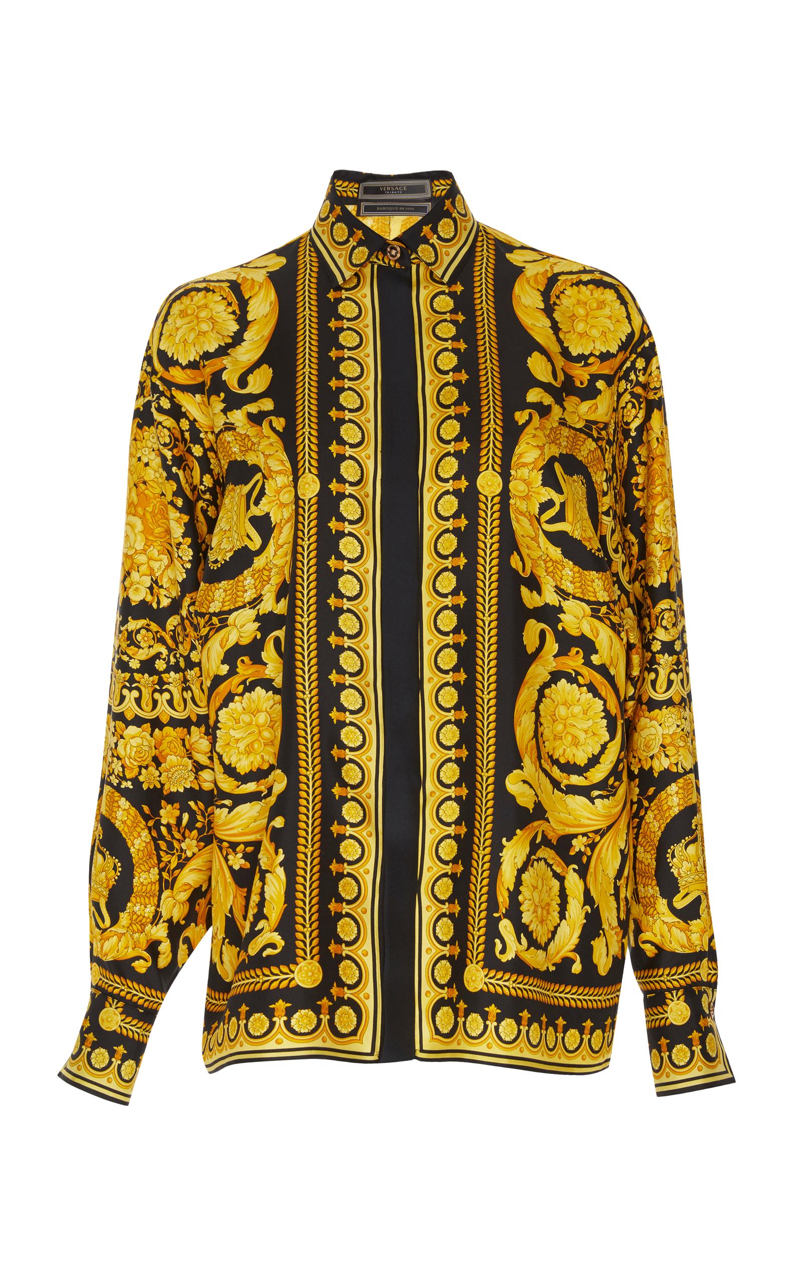 Versace Barocco Fw91 Print Silk Shirt In Multi Modesens