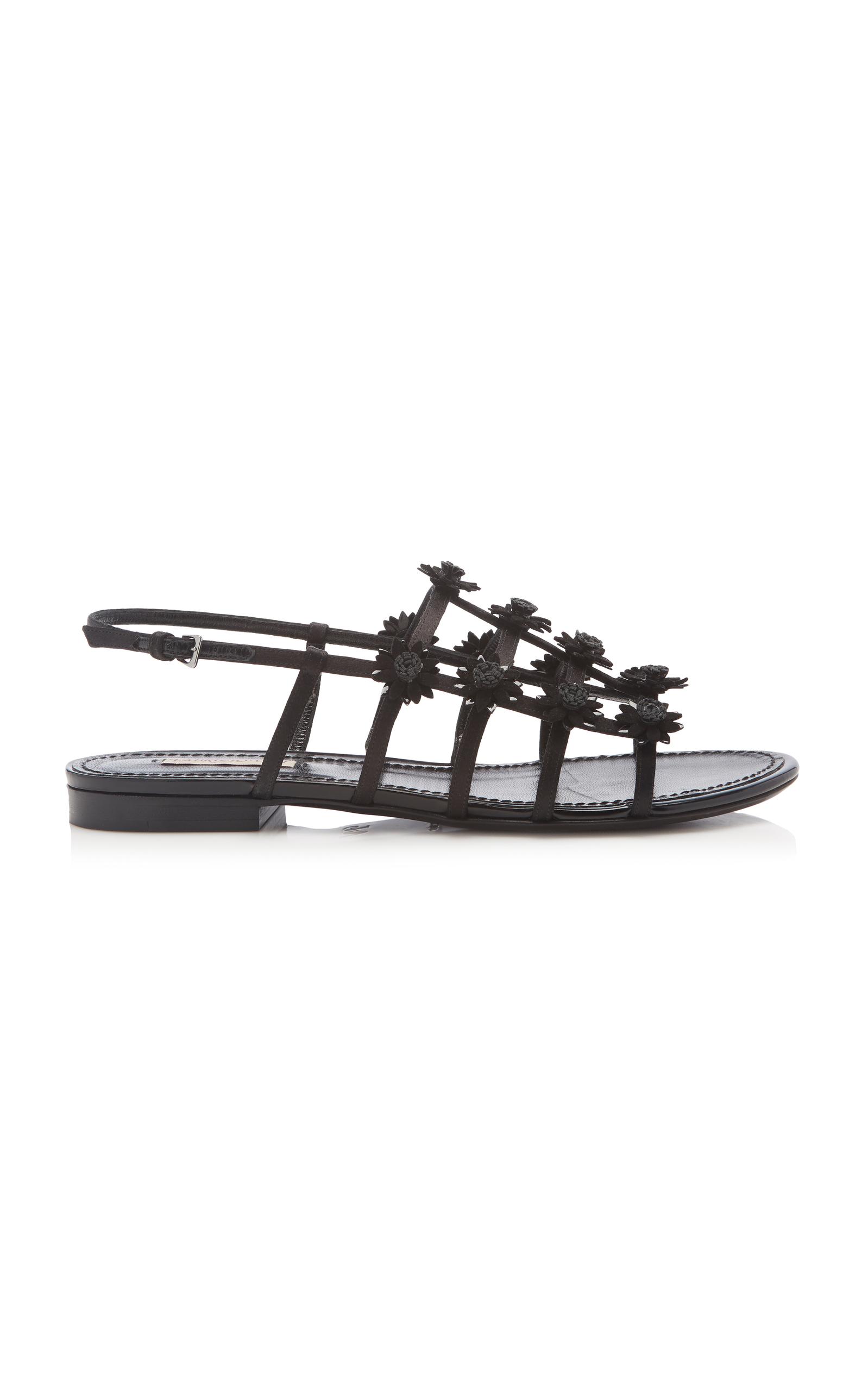 FABRIZIO VITI Daisy-Appliquéd Satin Slingback Sandals - Black Size 10.5