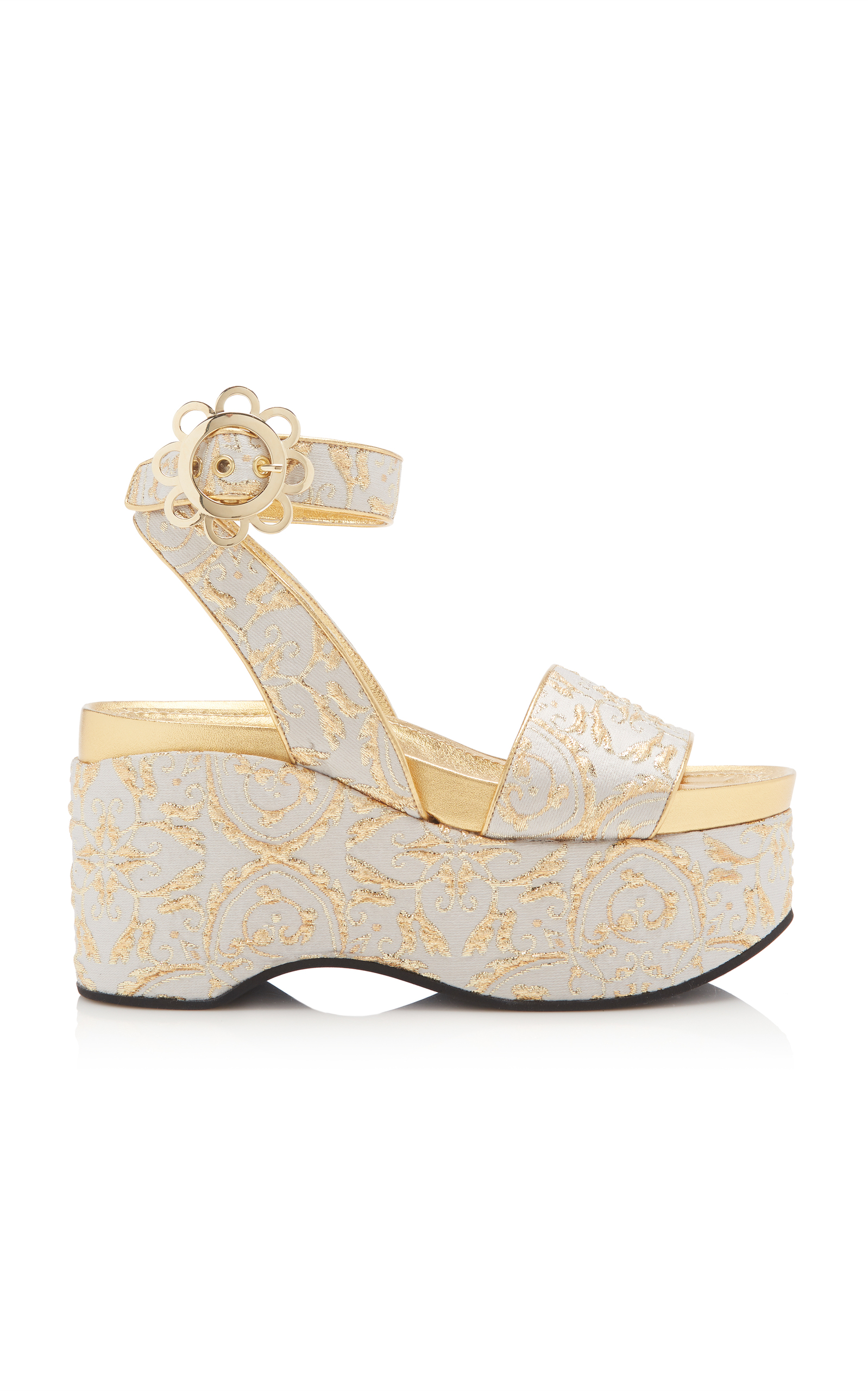 DAISY-BUCKLE BROCADE PLATFORM SANDALS